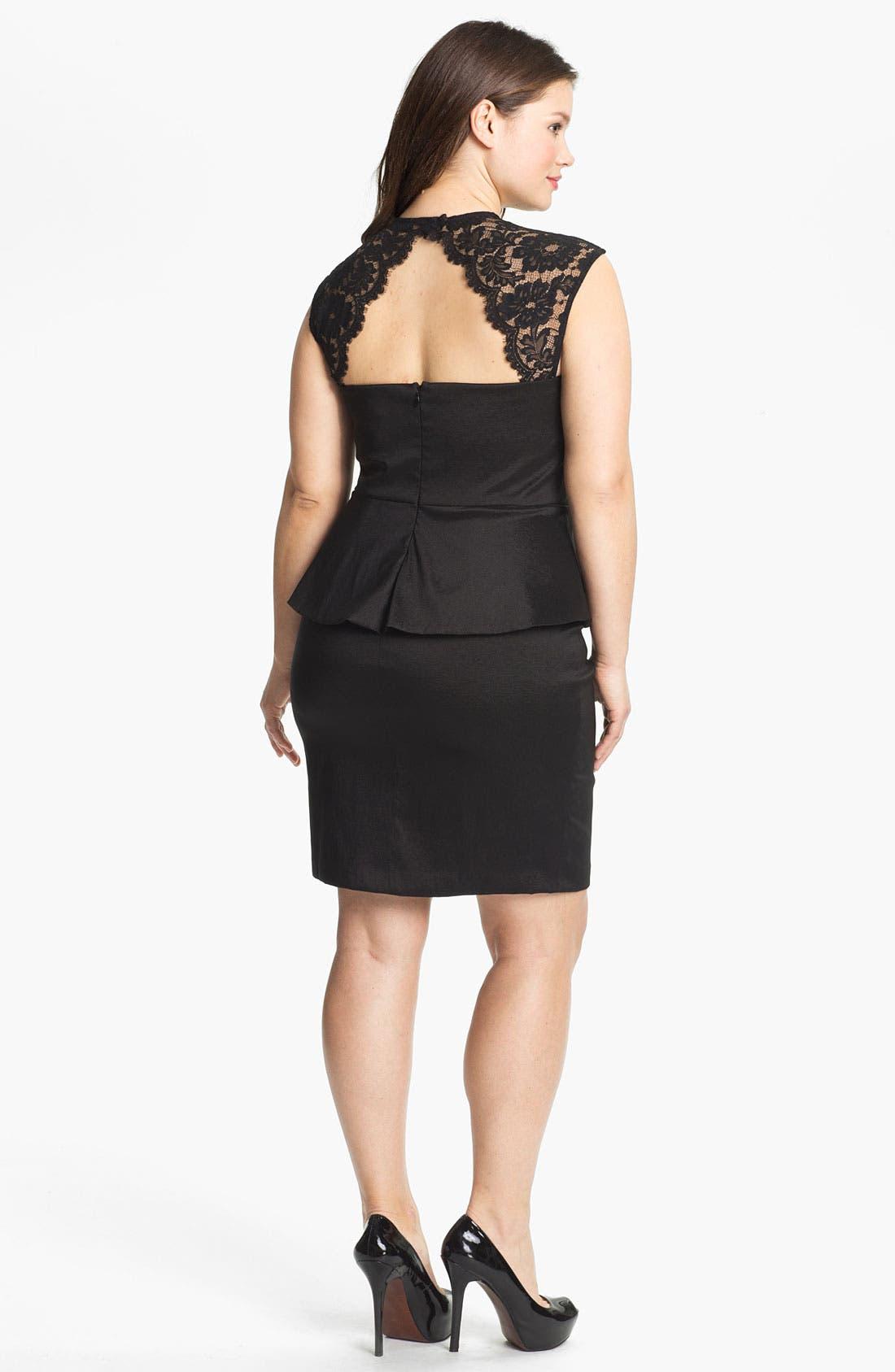 Alternate Image 2  - Xscape Lace Detail Peplum Dress (Plus Size)