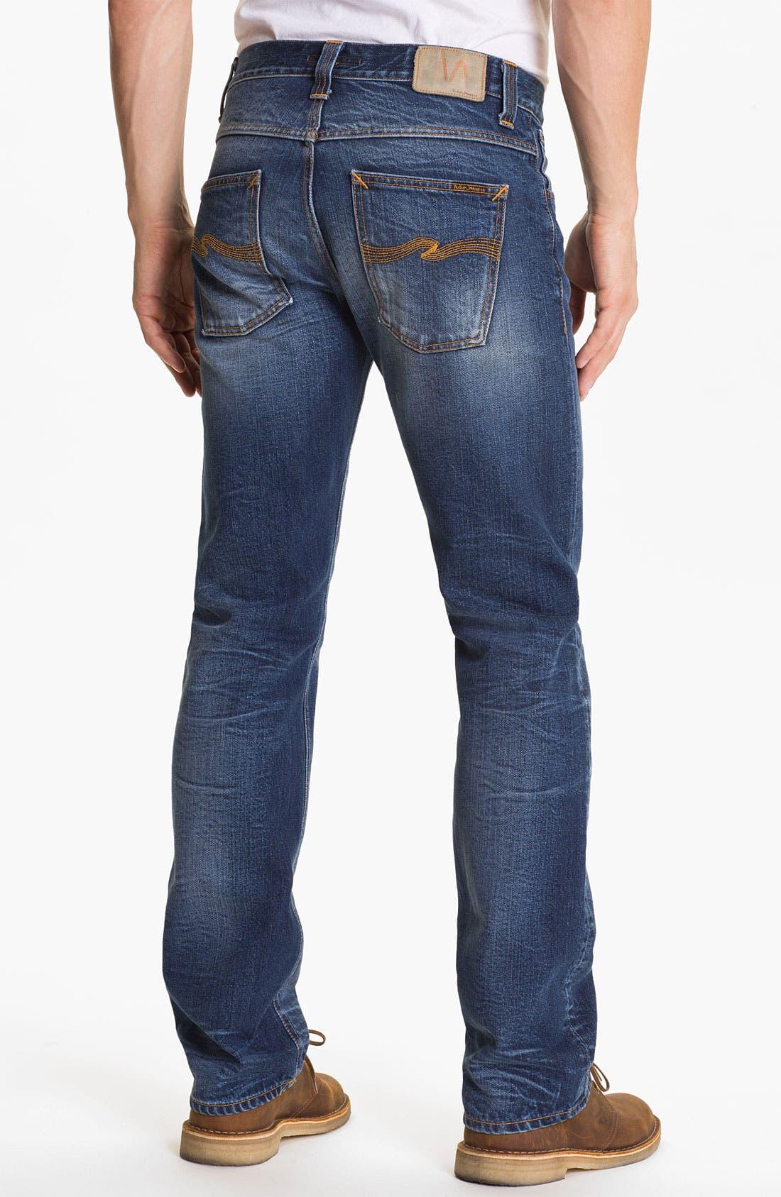 Alternate Image 1 Selected - Nudie 'Average Joe' Straight Leg Jeans (Organic Fine Contrast)