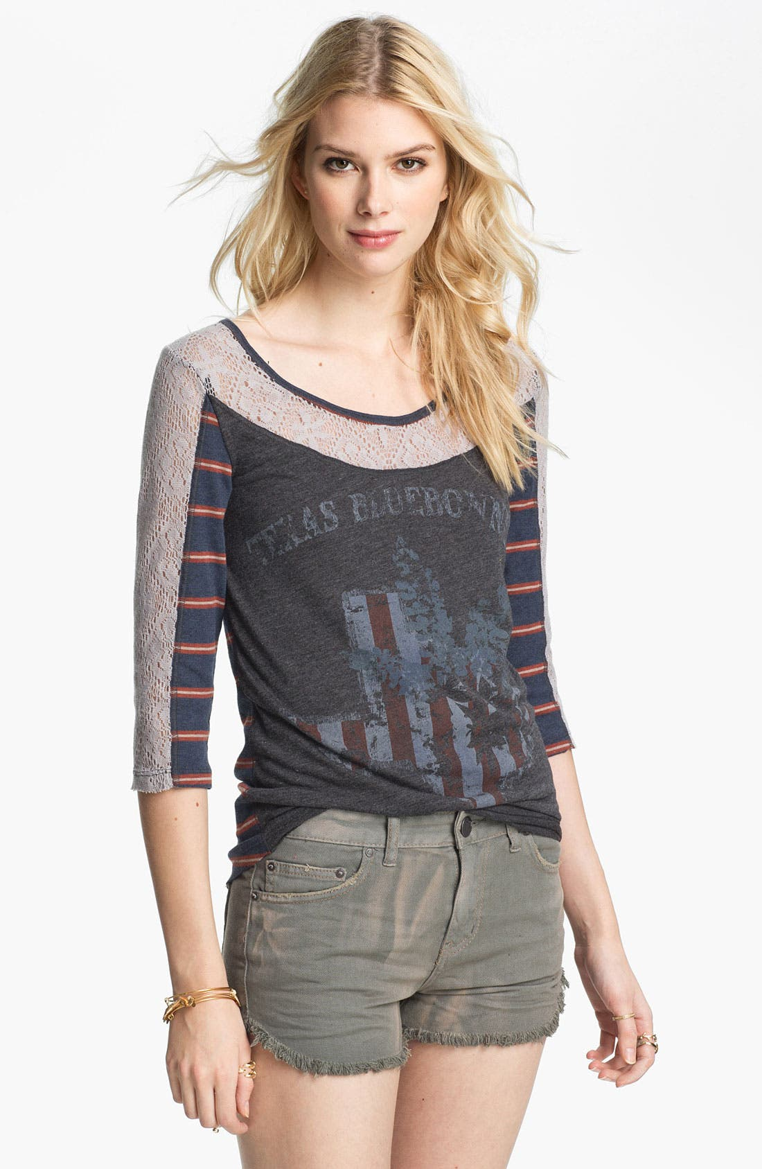 Alternate Image 1 Selected - Free People 'Love Me' Lace Trim Graphic Tee