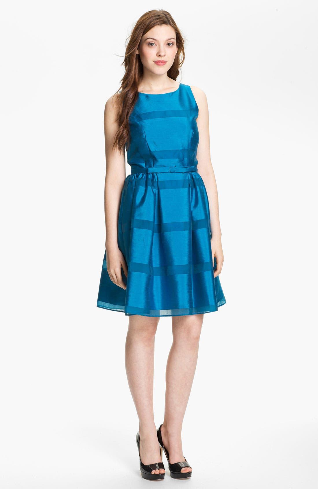 Main Image - Taylor Dresses Tonal Stripe Fit & Flare Dress (Regular & Petite)