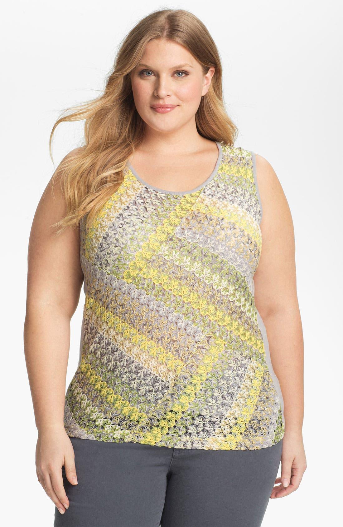 Main Image - Nic + Zoe Stripe Lace Tank (Plus Size)