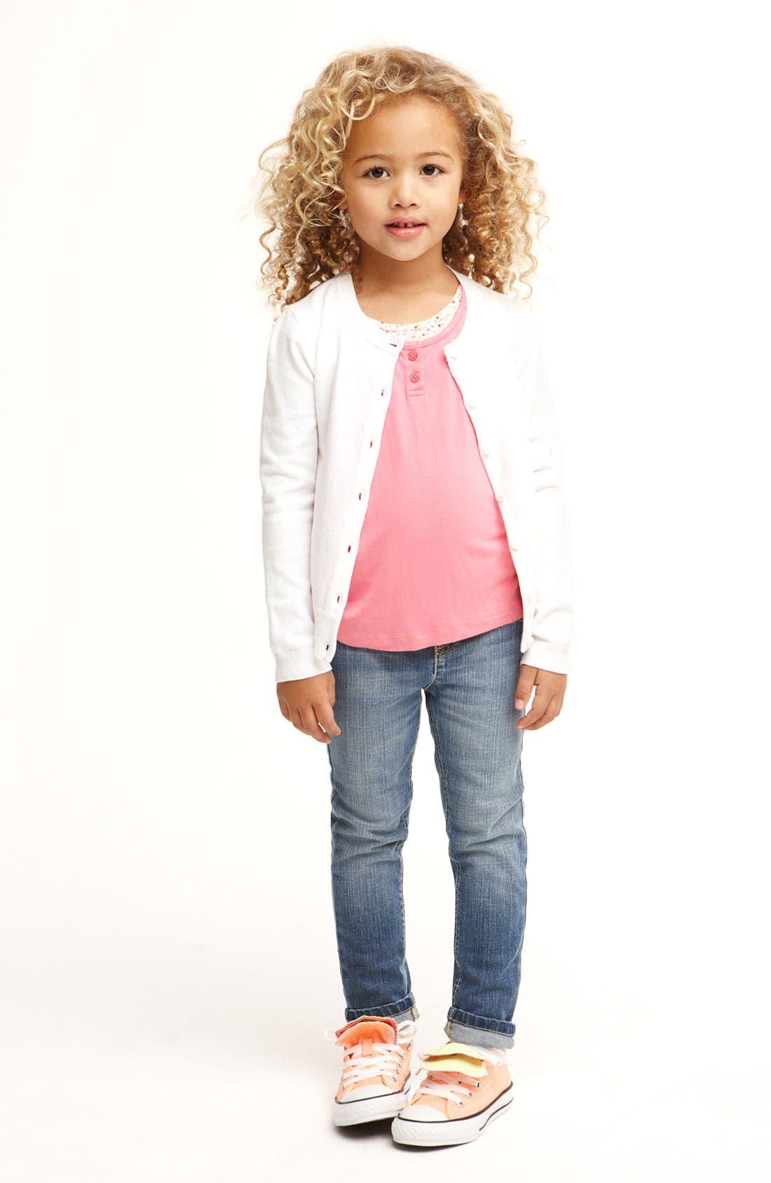Main Image - Tucker + Tate Tank Top, Cardigan & Skinny Jeans & Converse Sneaker (Little Girls)