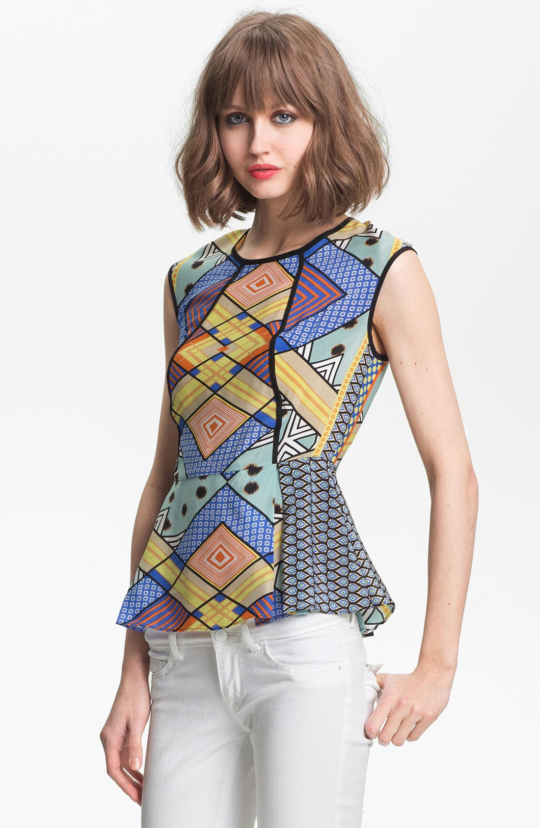 Main Image - Pure Sugar Mix Print Peplum Top
