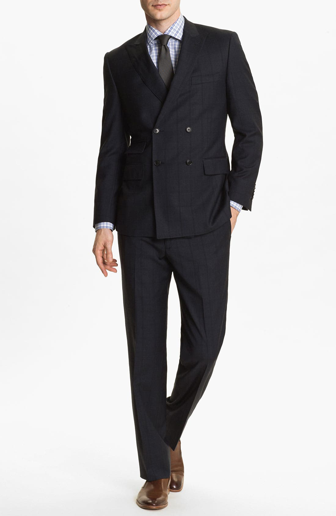 Main Image - English Laundry Trim Fit Double Breasted Suit (Online Only)