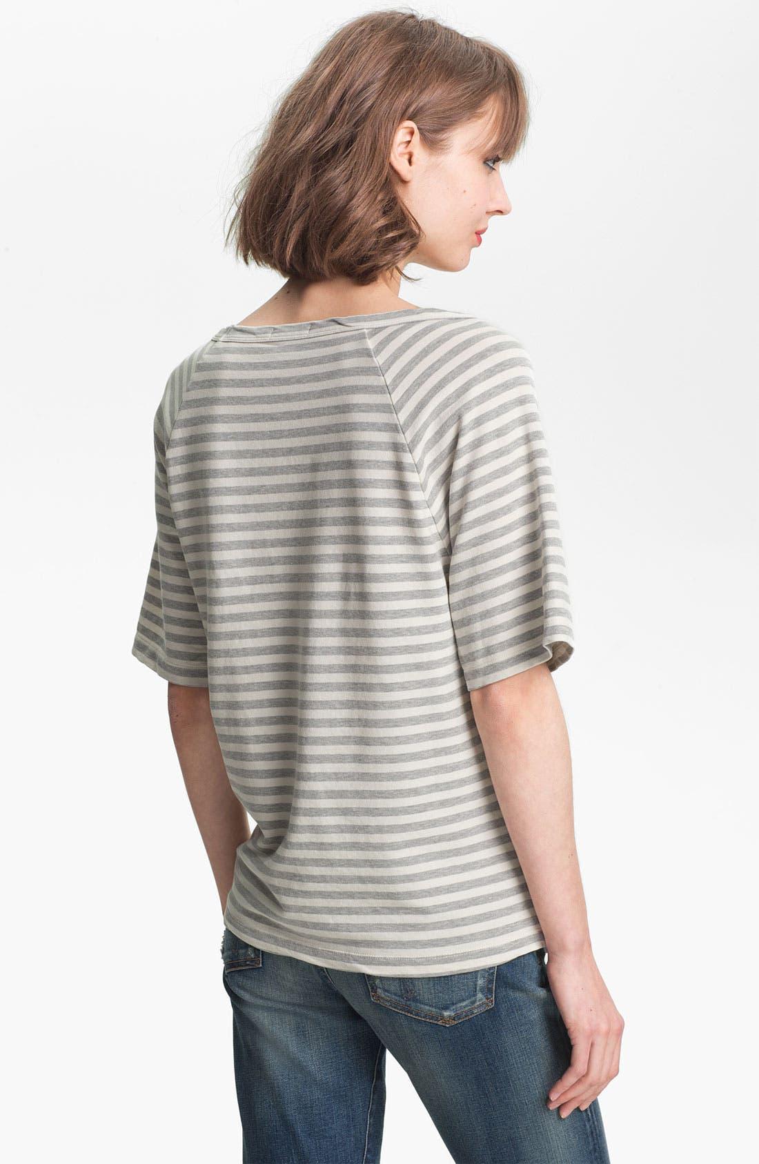 Alternate Image 2  - James Perse Stripe Short Sleeve Sweatshirt