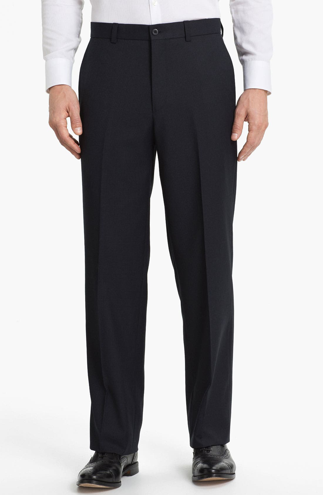 Alternate Image 1 Selected - Linea Naturale 'Fancy' Flat Front Microfiber Trousers