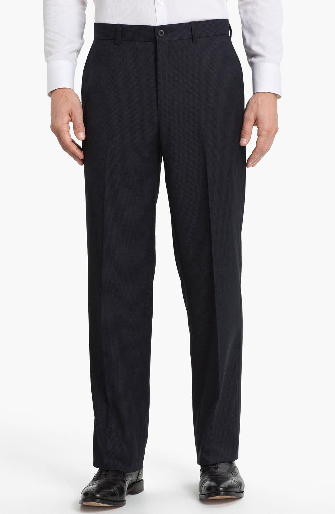Main Image - Linea Naturale 'Fancy' Flat Front Microfiber Trousers