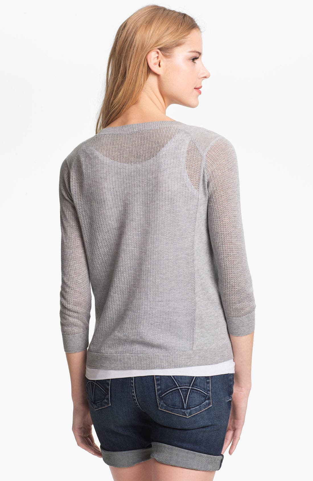 Alternate Image 2  - Halogen® Three Quarter Sleeve Textured Sweater
