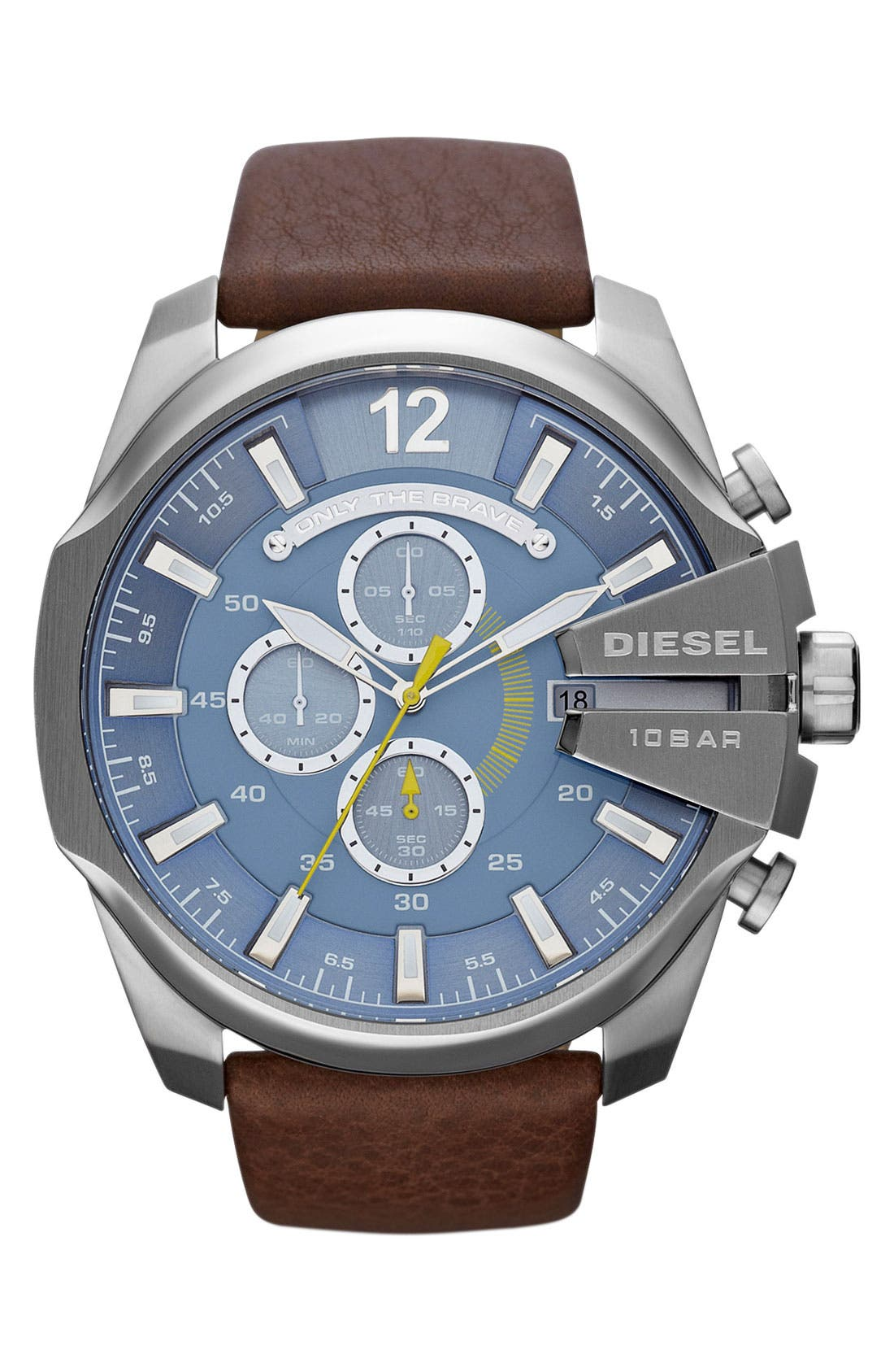 Alternate Image 1 Selected - DIESEL® 'Mega Chief' Leather Strap Watch, 51mm