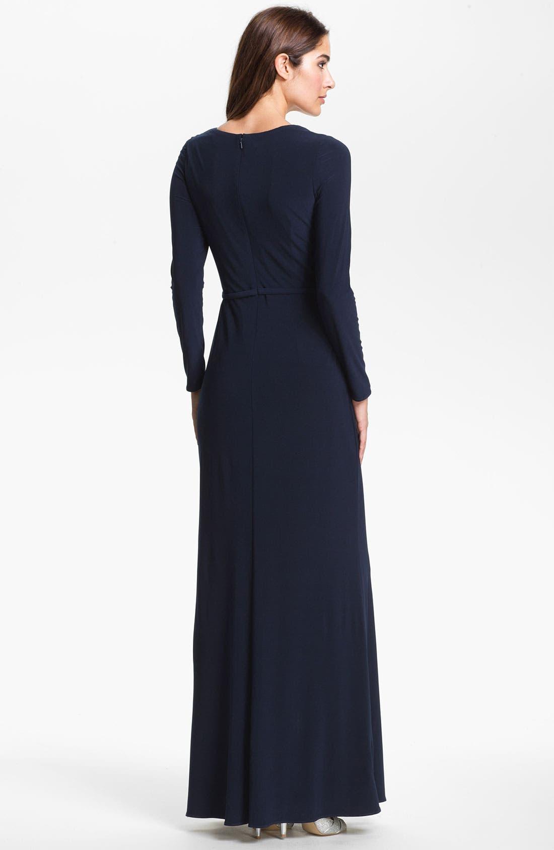 Alternate Image 2  - Kathy Hilton Embellished Long Sleeve Jersey Gown