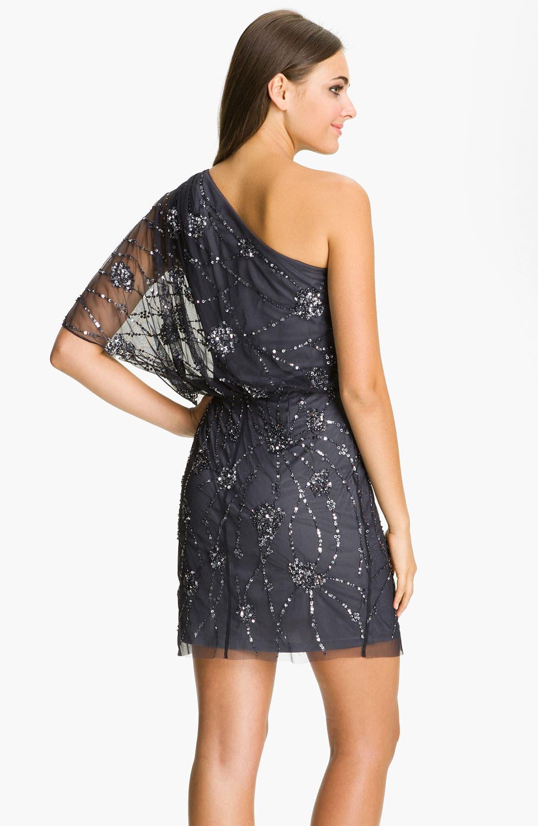 Alternate Image 2  - Adrianna Papell Embellished One Shoulder Mesh Dress (Petite)