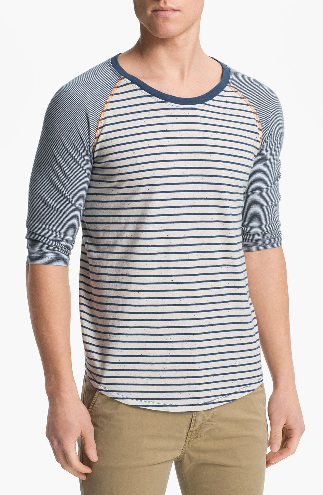 Main Image - Nudie Mixed Stripe Cropped Sleeve T-Shirt
