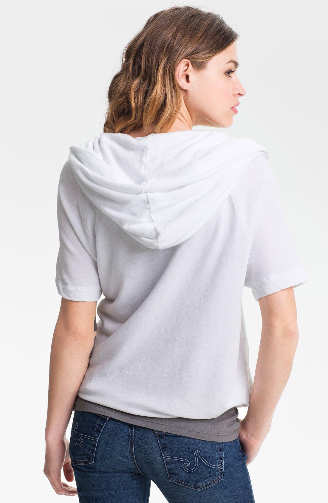 Alternate Image 2  - James Perse Tie Hem Short Sleeve Hoodie