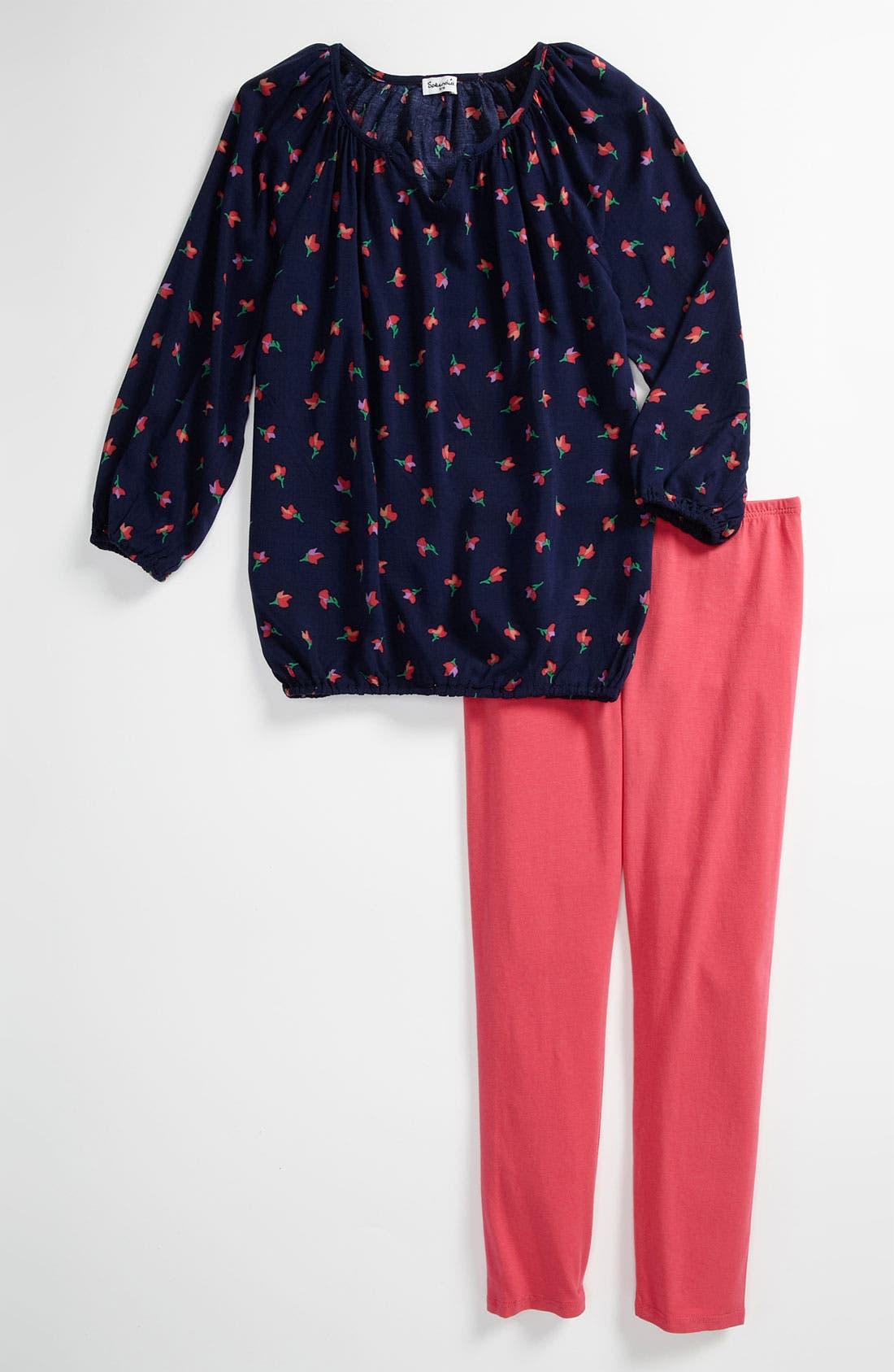 Alternate Image 1 Selected - Splendid 'Parisian Tulip' Tunic & Leggings (Little Girls)