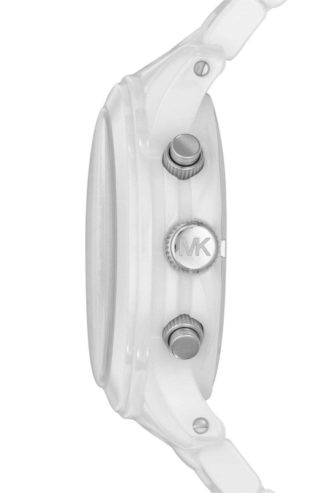 Michael Kors 'Runway Ceramic' Watch, 40mm,                             Alternate thumbnail 2, color,                             White
