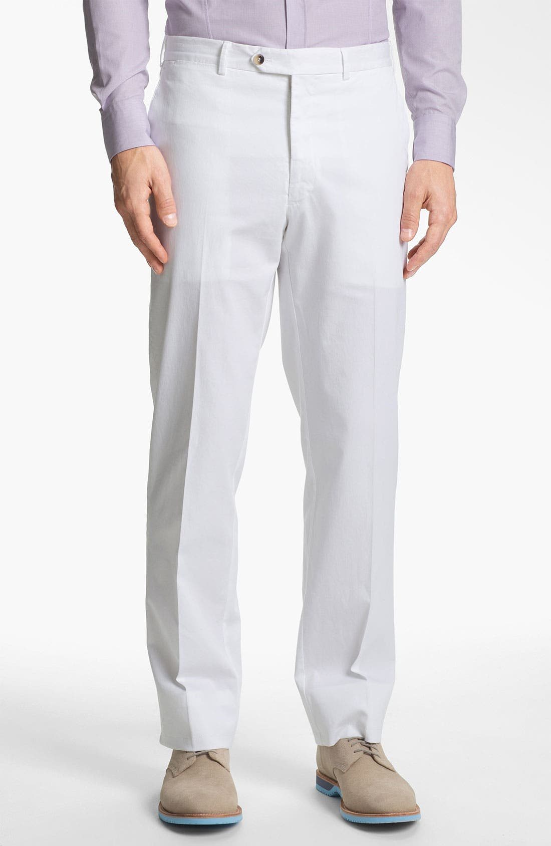 Main Image - Canali Flat Front Cotton Pants