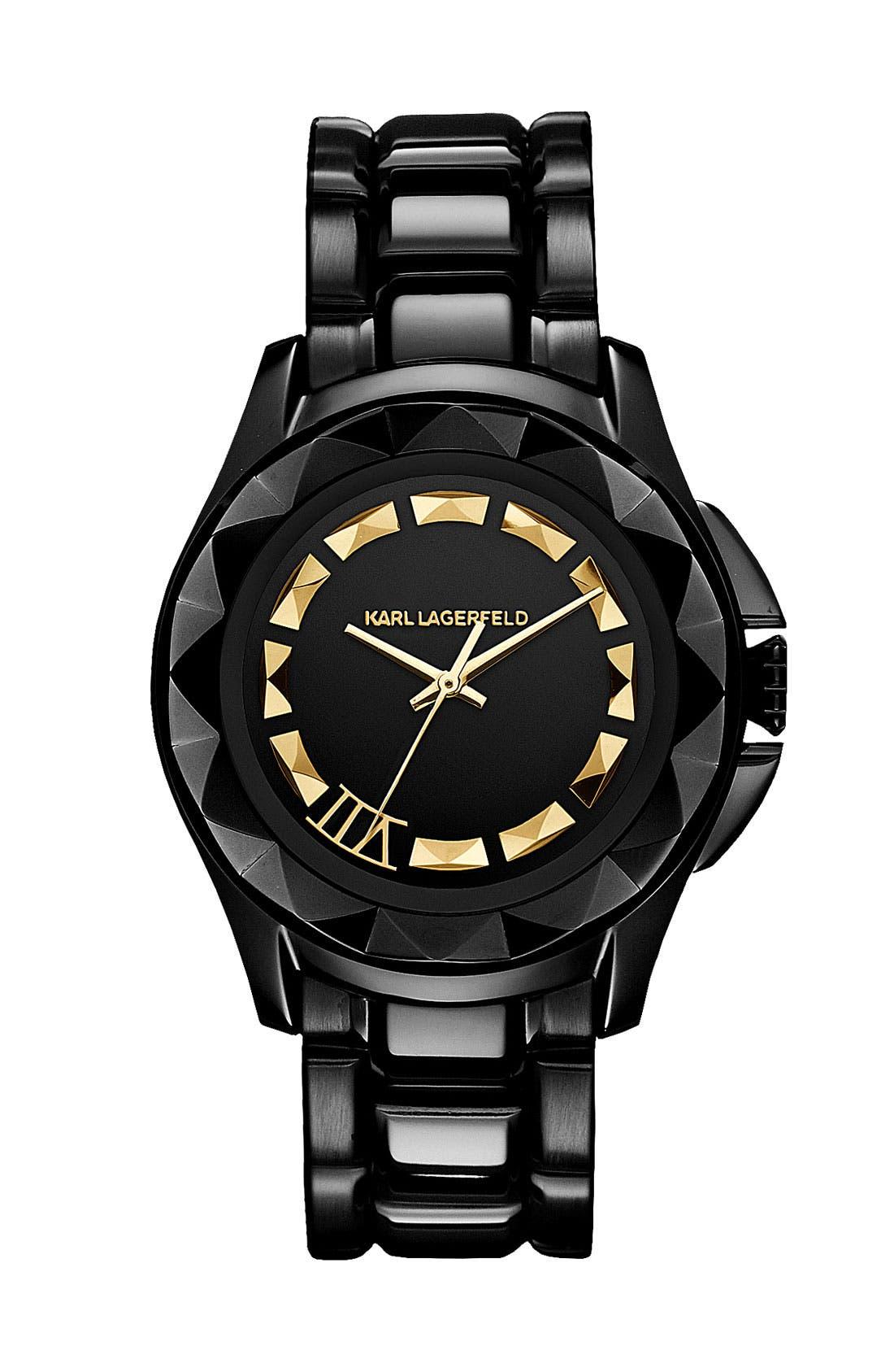Alternate Image 1 Selected - KARL LAGERFELD '7' Faceted Bezel Bracelet Watch, 36mm