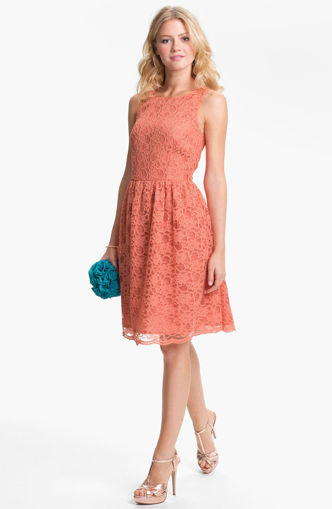 Main Image - Calvin Klein Sleeveless Lace Fit & Flare Dress