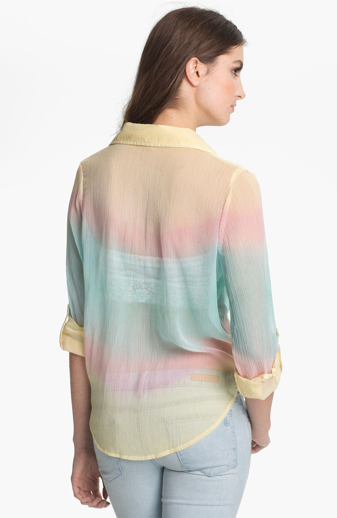 Alternate Image 2  - Living Doll Sheer Rainbow Ombré Shirt (Juniors)