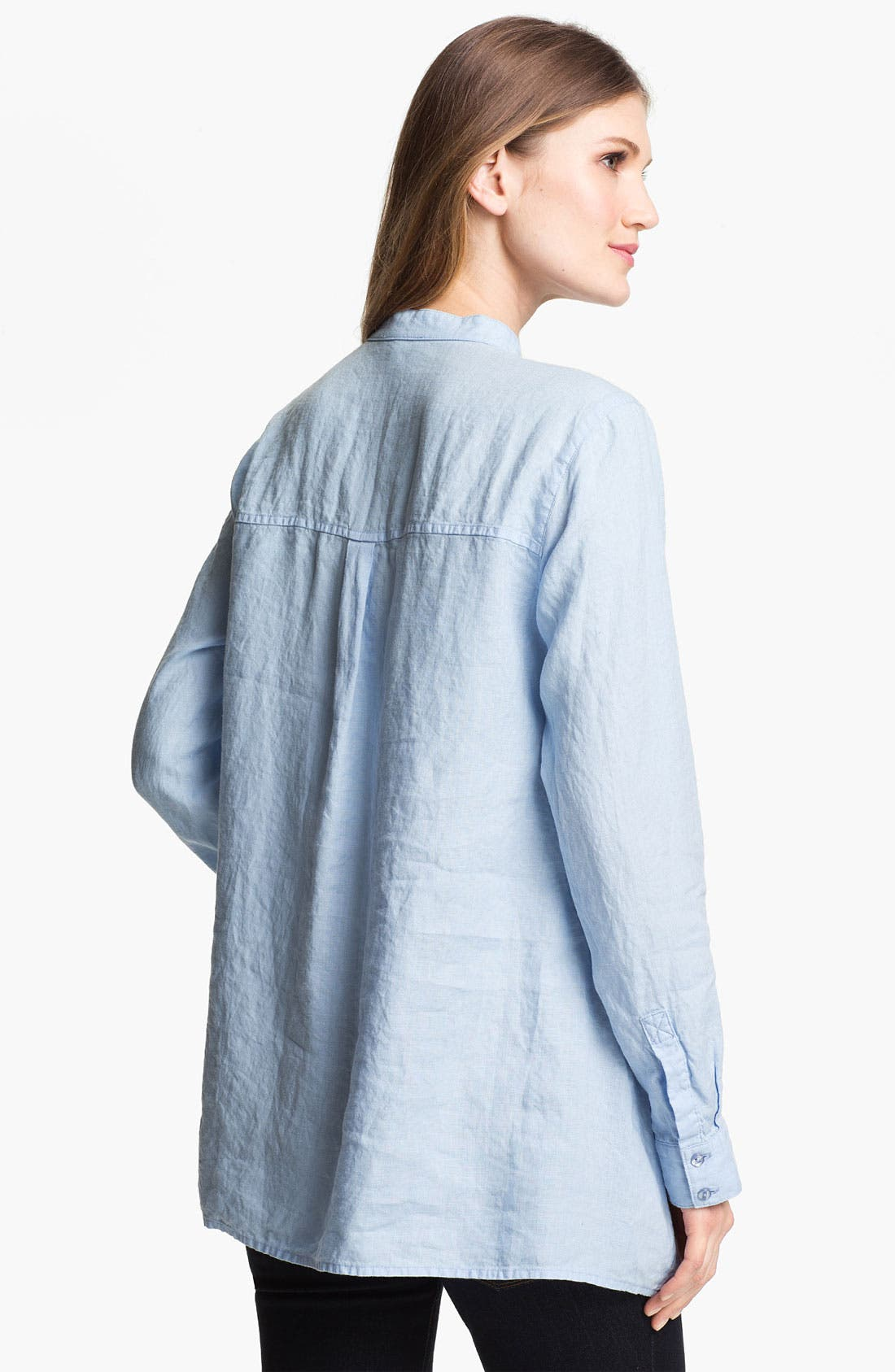 Alternate Image 2  - Eileen Fisher Mandarin Collar Organic Linen Shirt