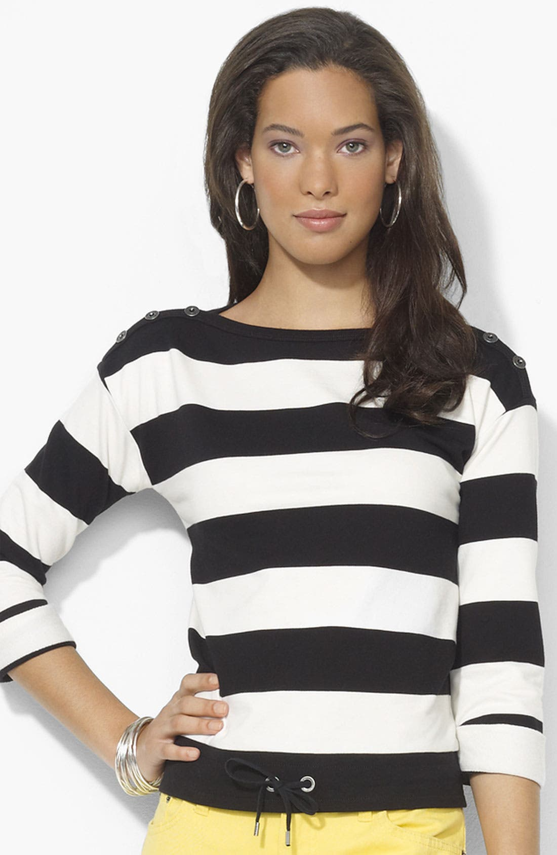 Main Image - Lauren Ralph Lauren Drawstring Hem Stripe Top (Petite) (Online Exclusive)