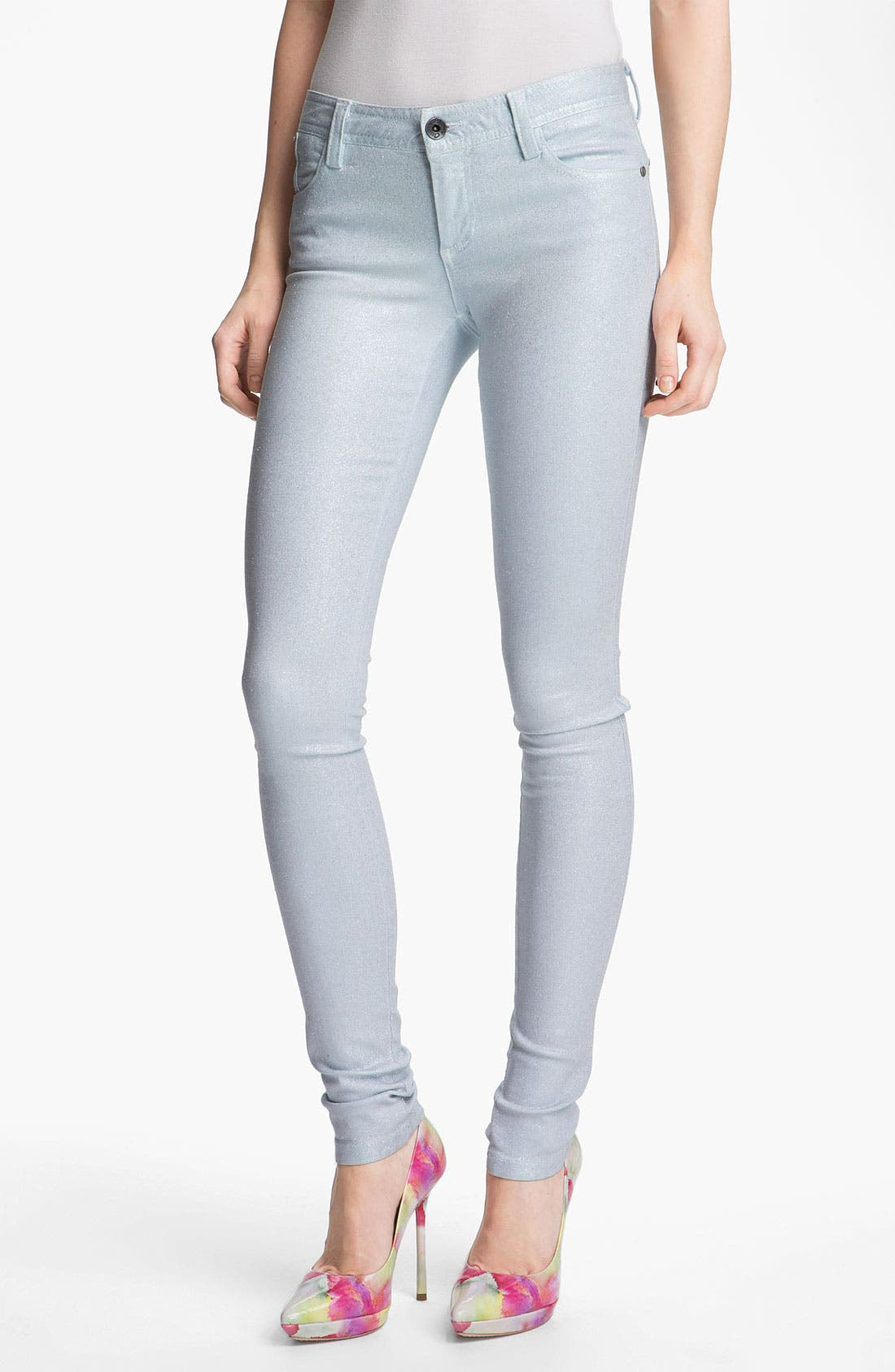 Alternate Image 1 Selected - Alice + Olivia Glitter Skinny Stretch Jeans