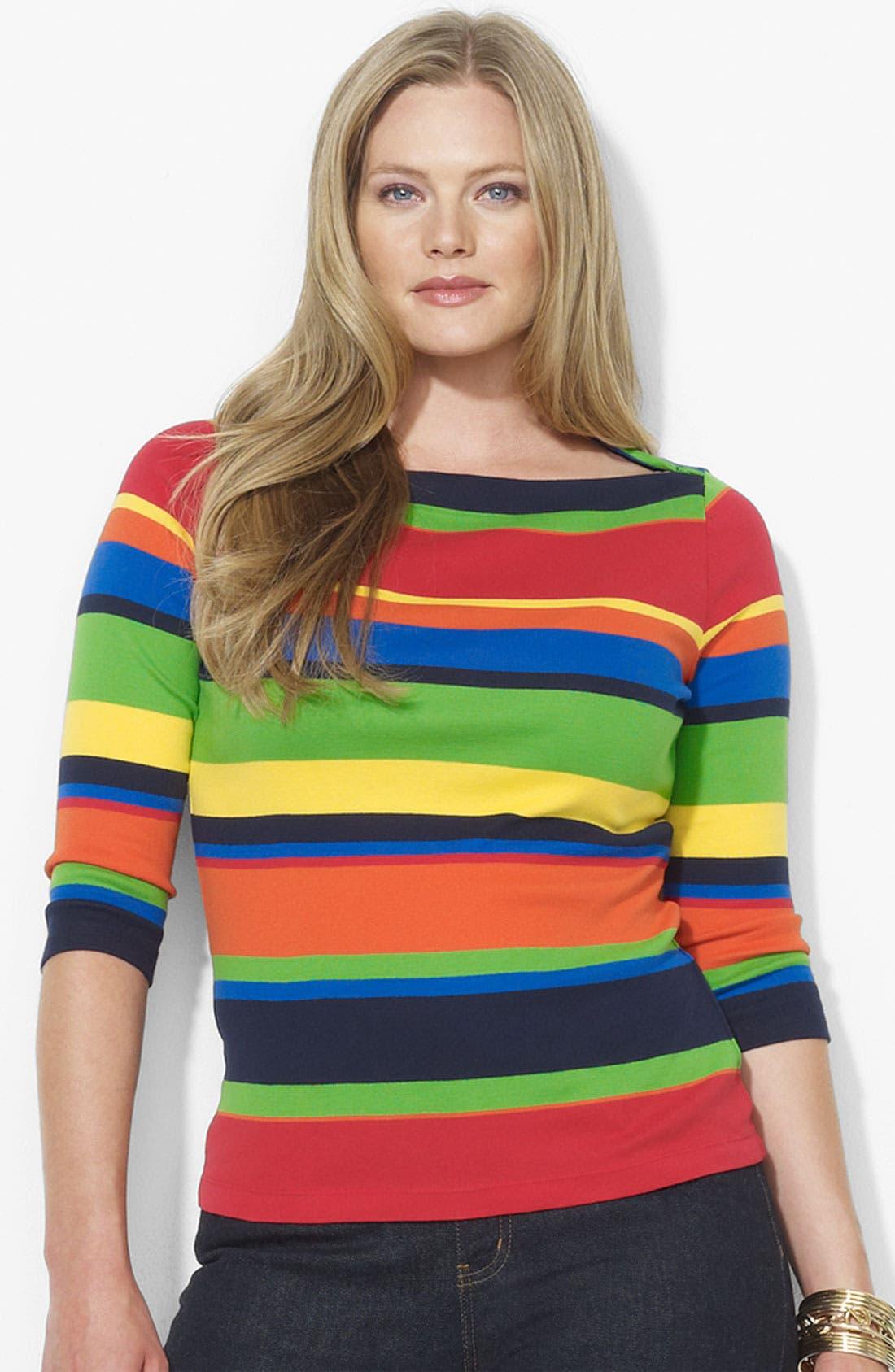 Alternate Image 1 Selected - Lauren Ralph Lauren Stripe Cotton Top (Plus)