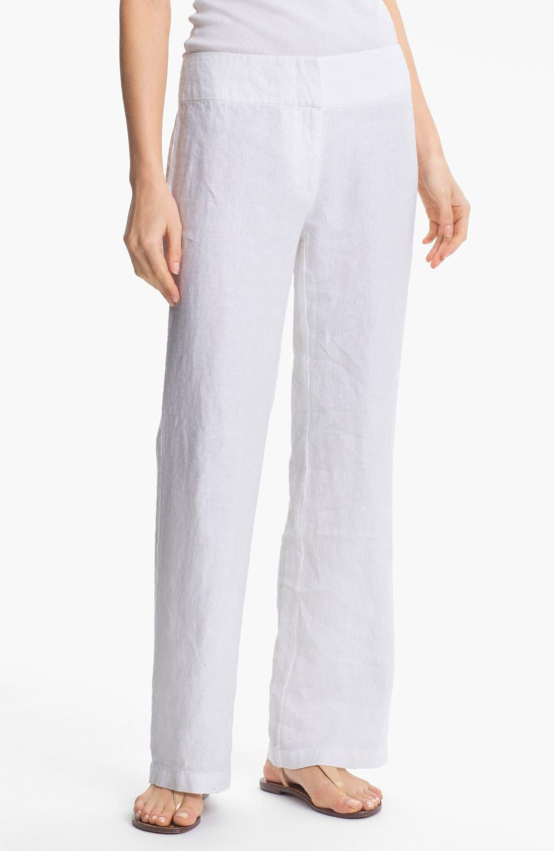 Alternate Image 1 Selected - Eileen Fisher Straight Leg Linen Pants
