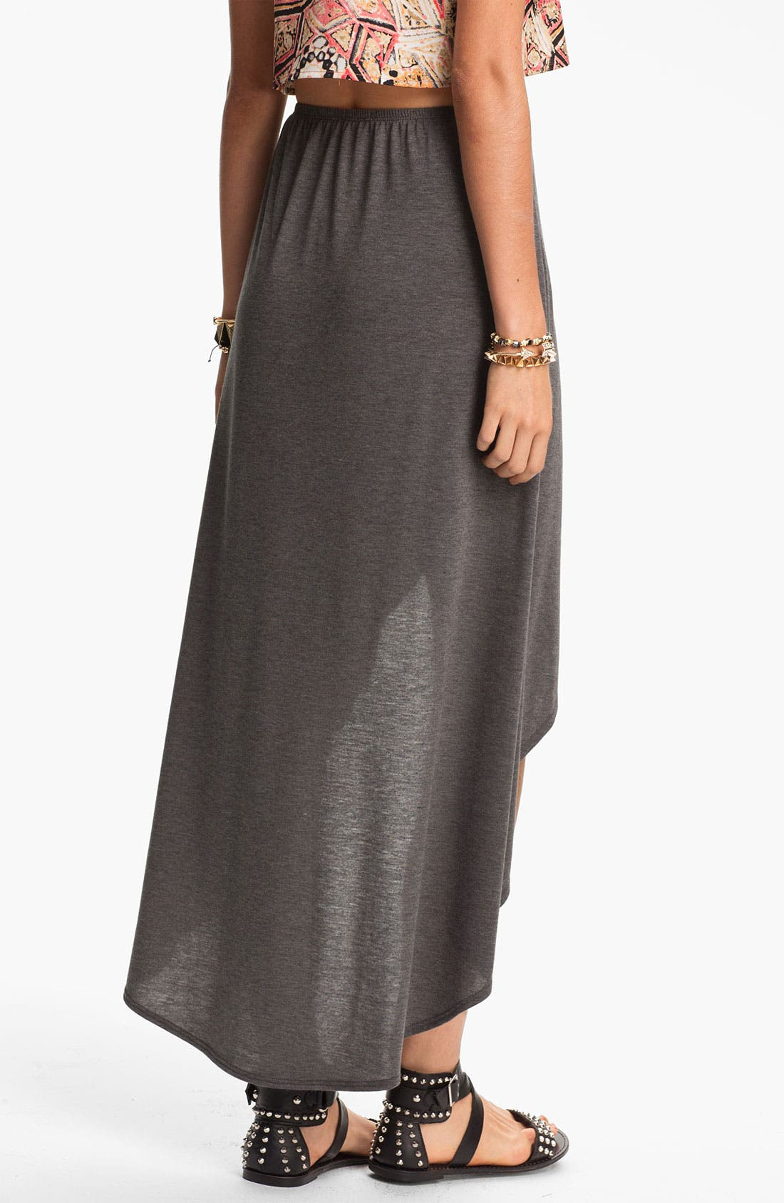 Alternate Image 4  - Lily White High/Low Faux Wrap Skirt (Juniors)