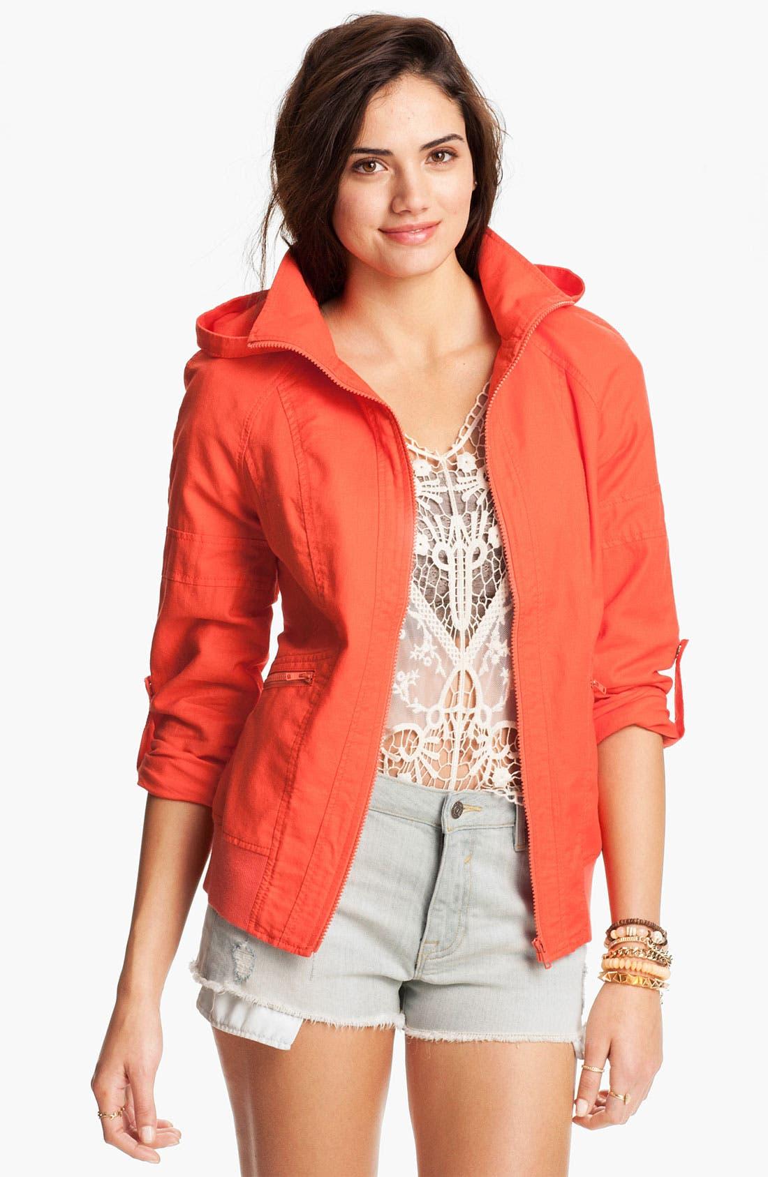 Alternate Image 1 Selected - BP. Hooded Twill Jacket (Juniors)