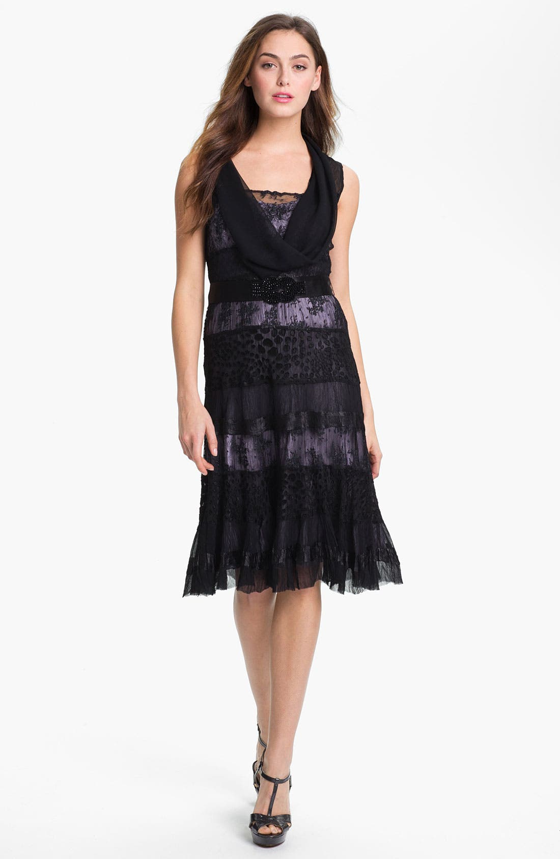 Alternate Image 1 Selected - Black by Komarov Lace Panel A-Line Dress