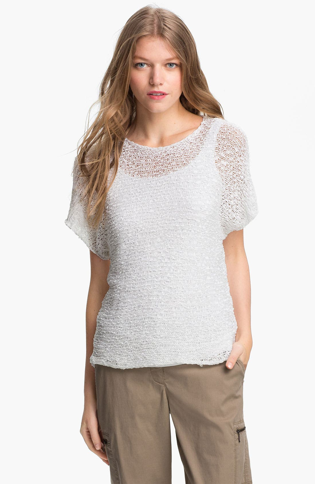 Alternate Image 1 Selected - Eileen Fisher Open Stitch Cotton Sweater