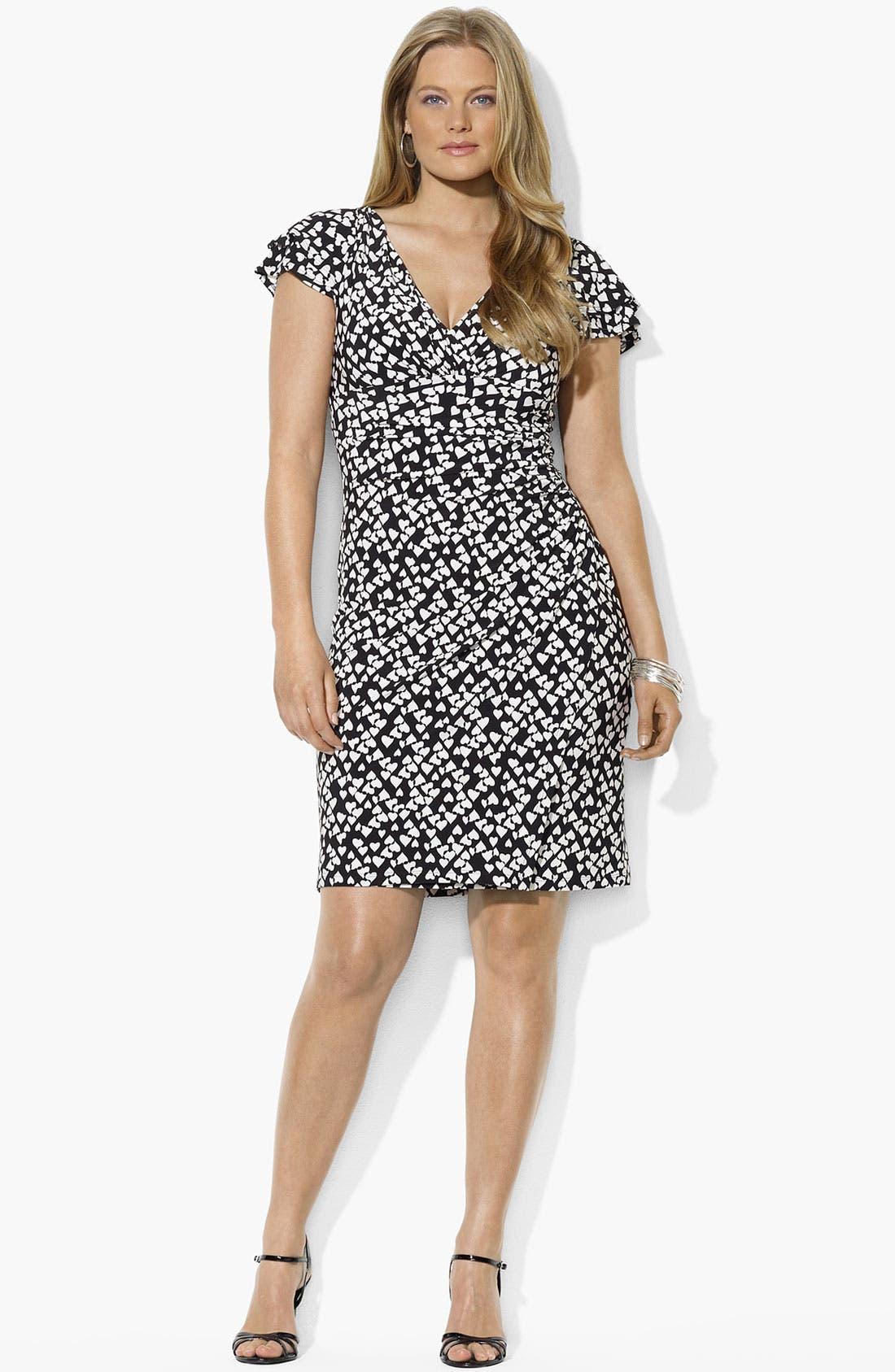 Main Image - Lauren Ralph Lauren Print Matte Jersey Dress (Plus Size)