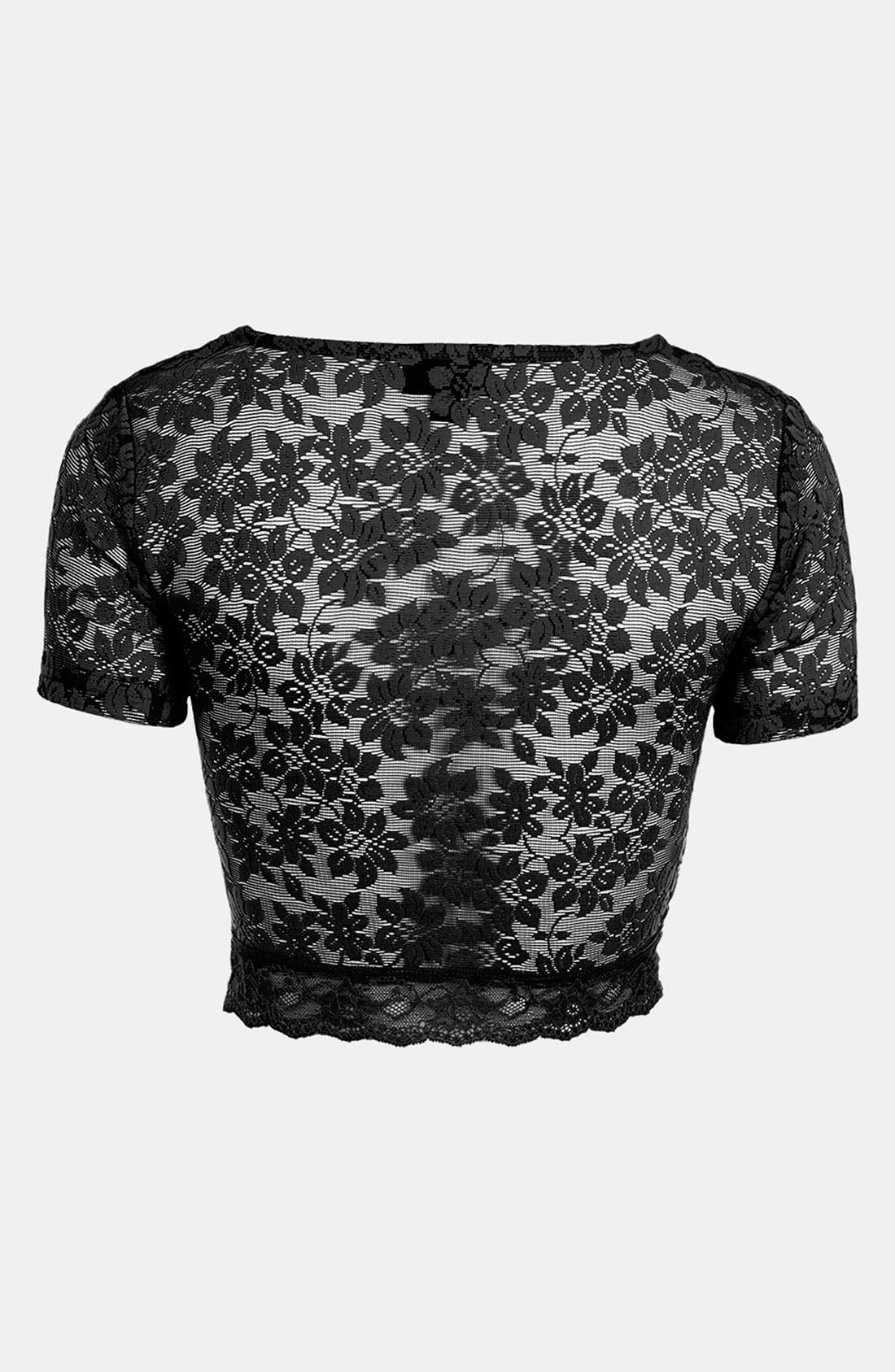 Alternate Image 2  - Topshop Lace Crop Top (Petite)