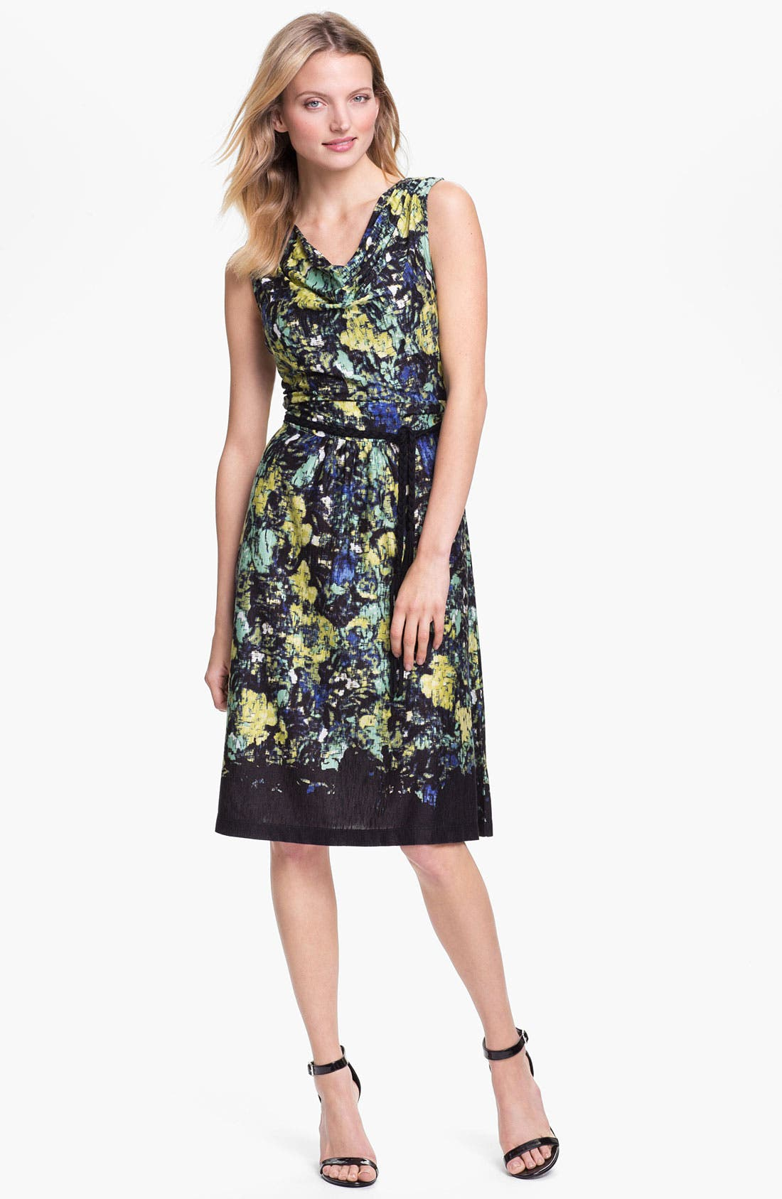 Main Image - Nic + Zoe Sleeveless Drape Neck Print Dress