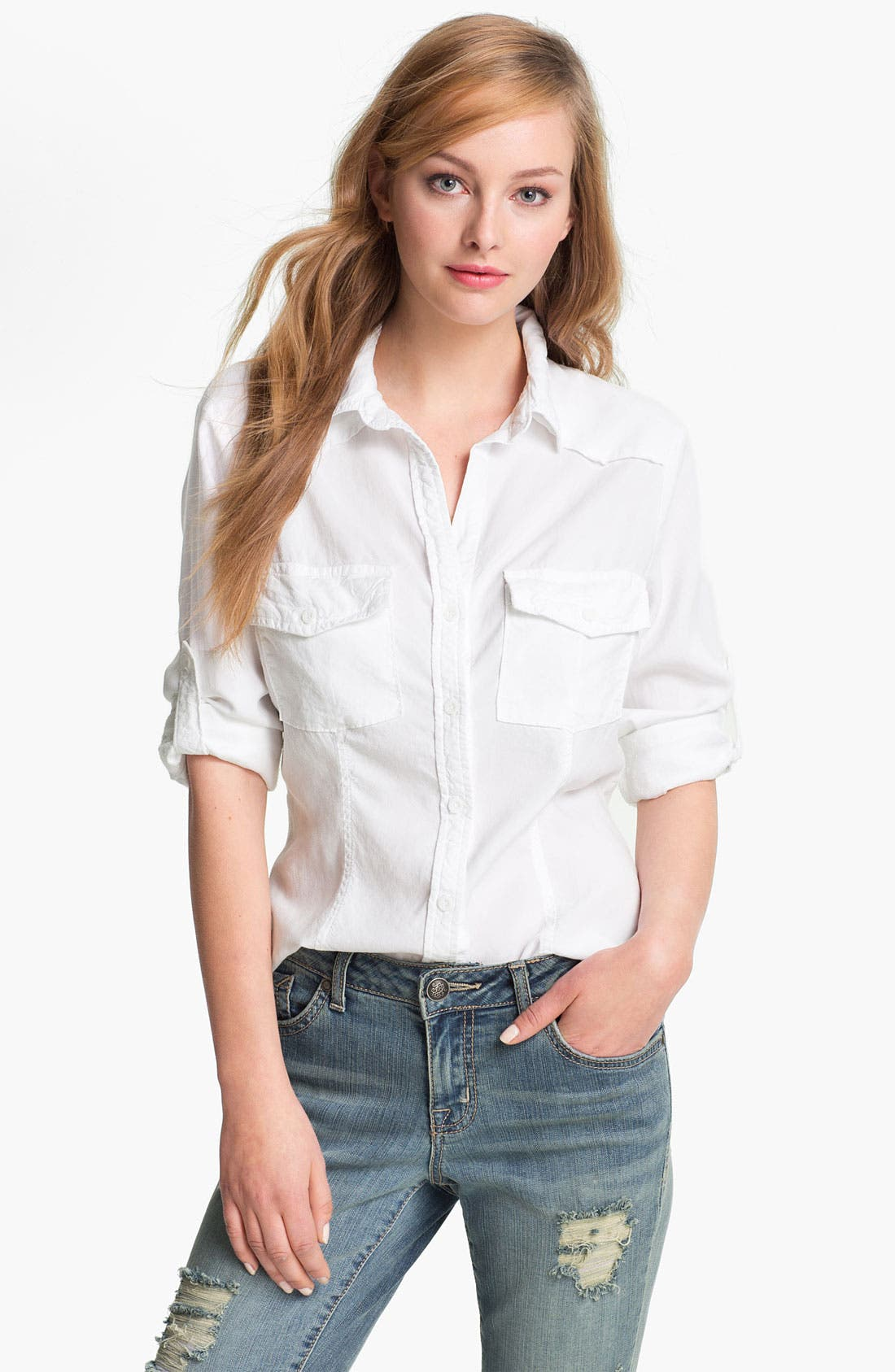 Alternate Image 1 Selected - Side Stitch Roll Sleeve Fitted Shirt