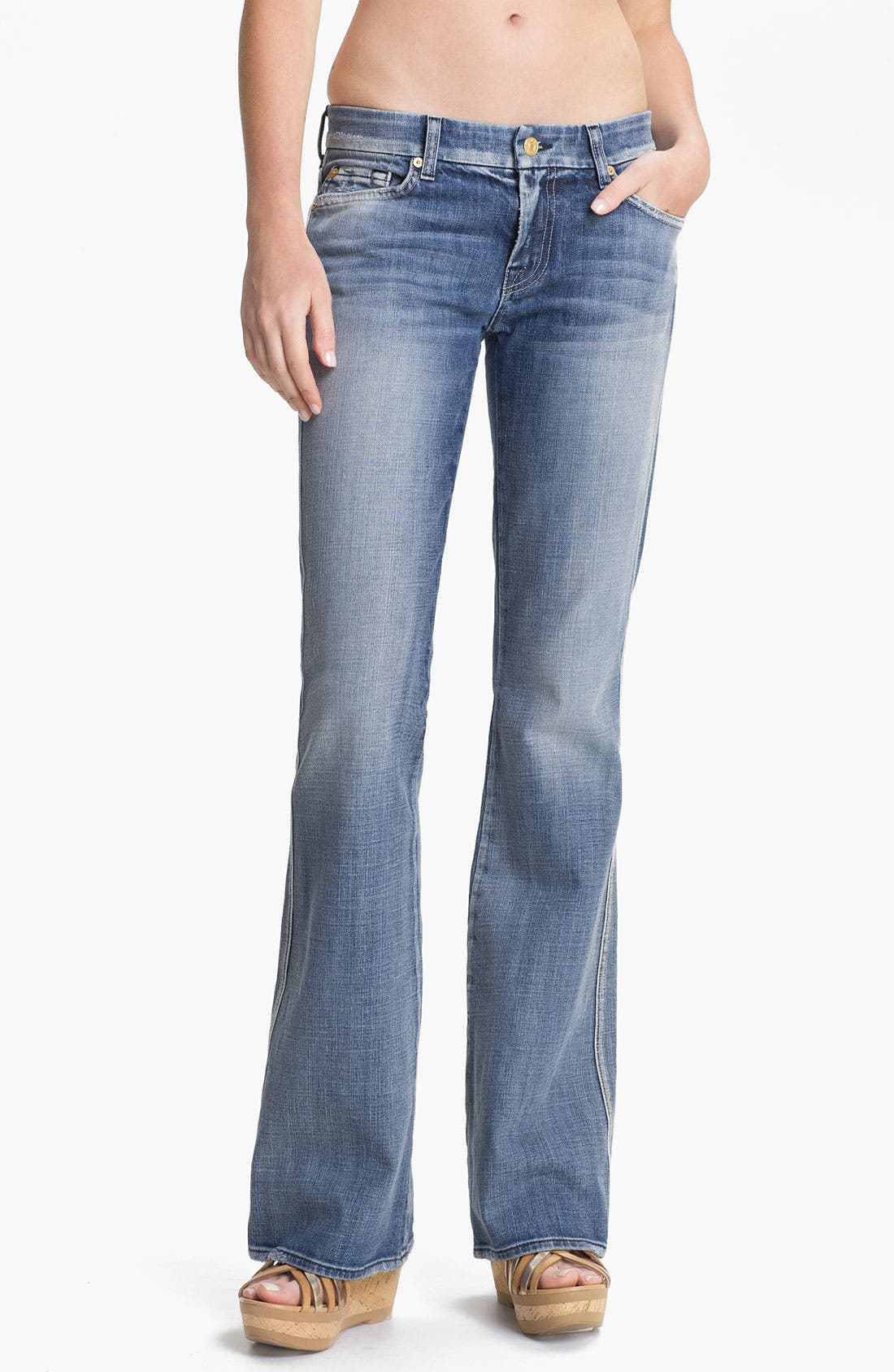 Alternate Image 1 Selected - 7 For All Mankind® 'A-Pocket' Bootcut Stretch Jeans (Pure Light Blue)