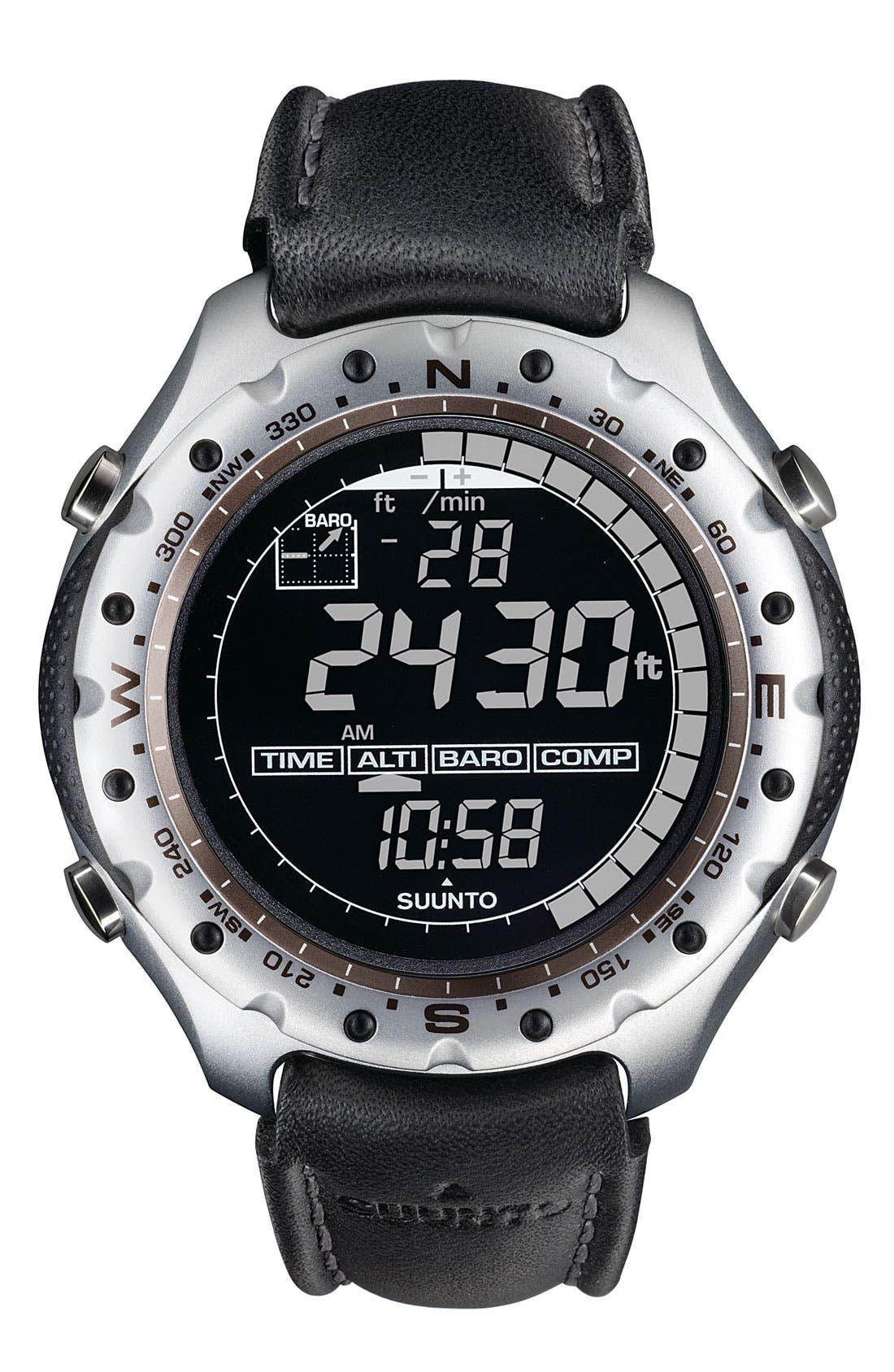 Alternate Image 1 Selected - Suunto 'X-Lander' Multifunction Leather Strap Watch, 52mm