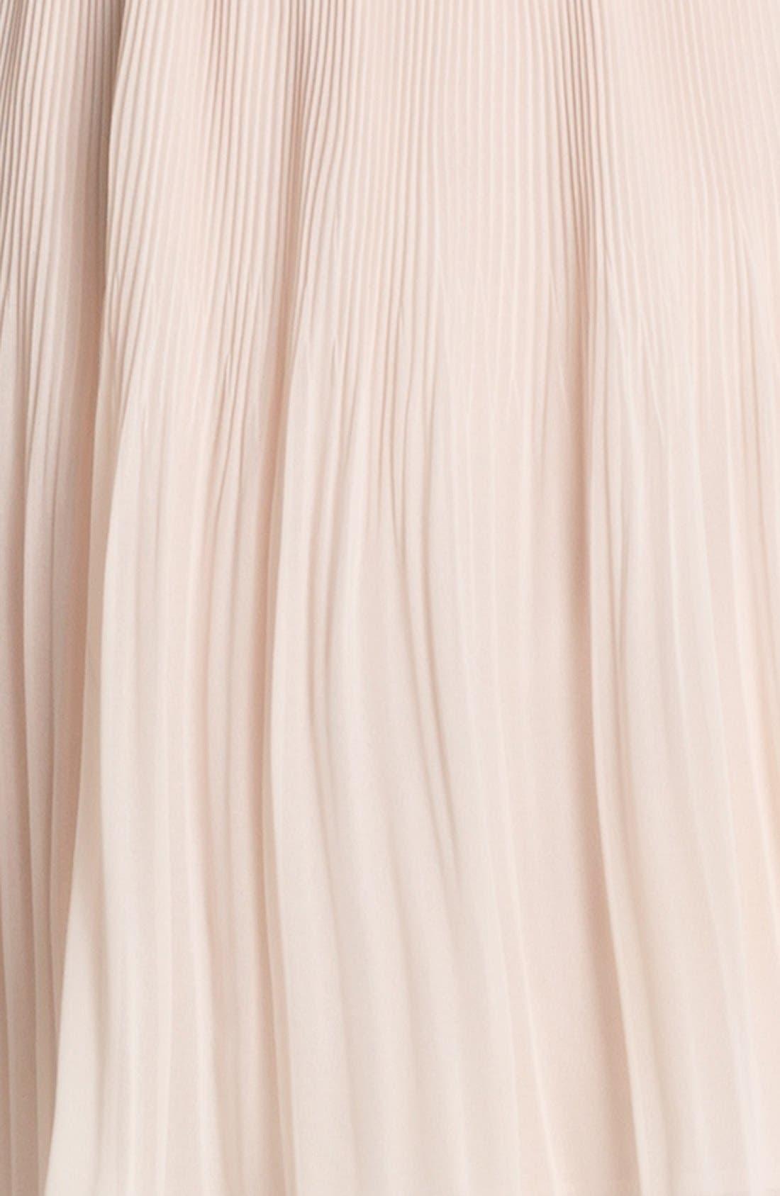 Alternate Image 3  - Mesh Back Pleated Chiffon Dress
