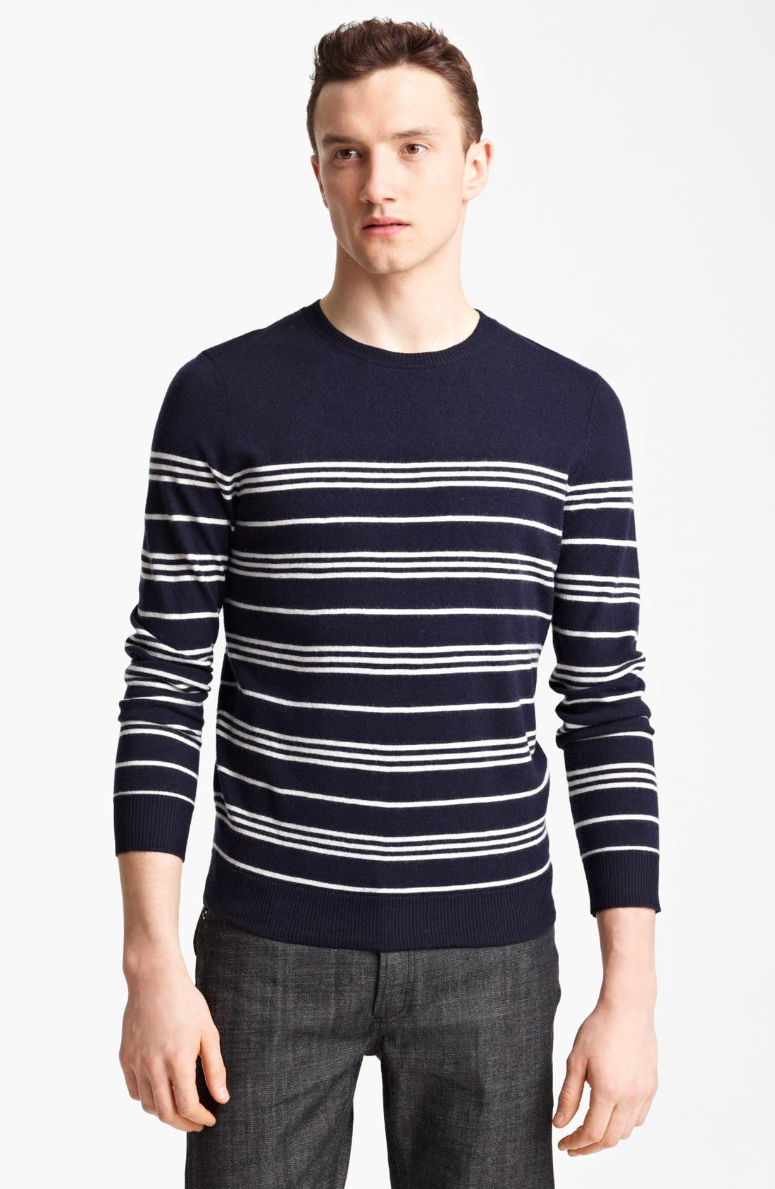 Alternate Image 1 Selected - A.P.C. Stripe Crewneck Wool Sweater
