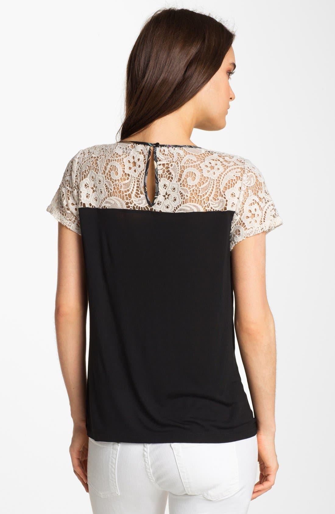 Alternate Image 2  - Hinge® Crochet Lace & Print Top