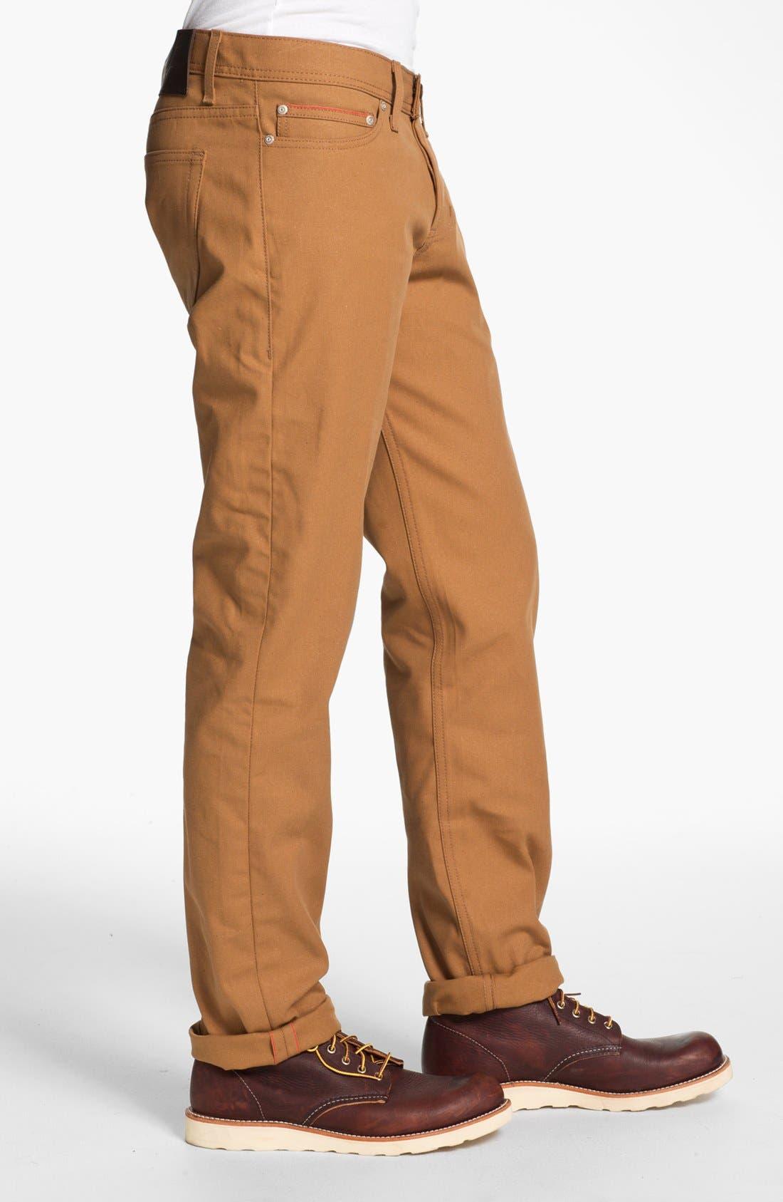 Alternate Image 3  - Naked & Famous Denim Weird Guy Slim Selvedge Duck Canvas Jeans (Vintage Brown Khaki)
