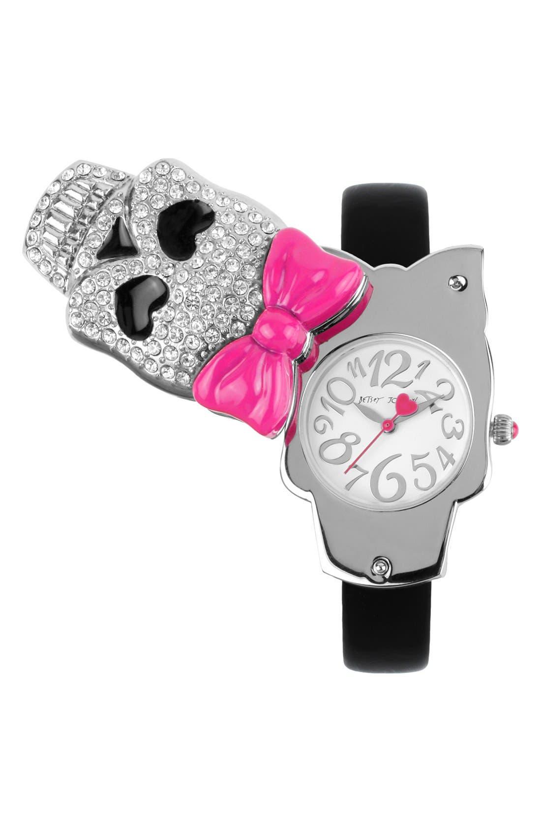 Main Image - Betsey Johnson Pavé Skull Swivel Case Watch, 27mm x 43mm