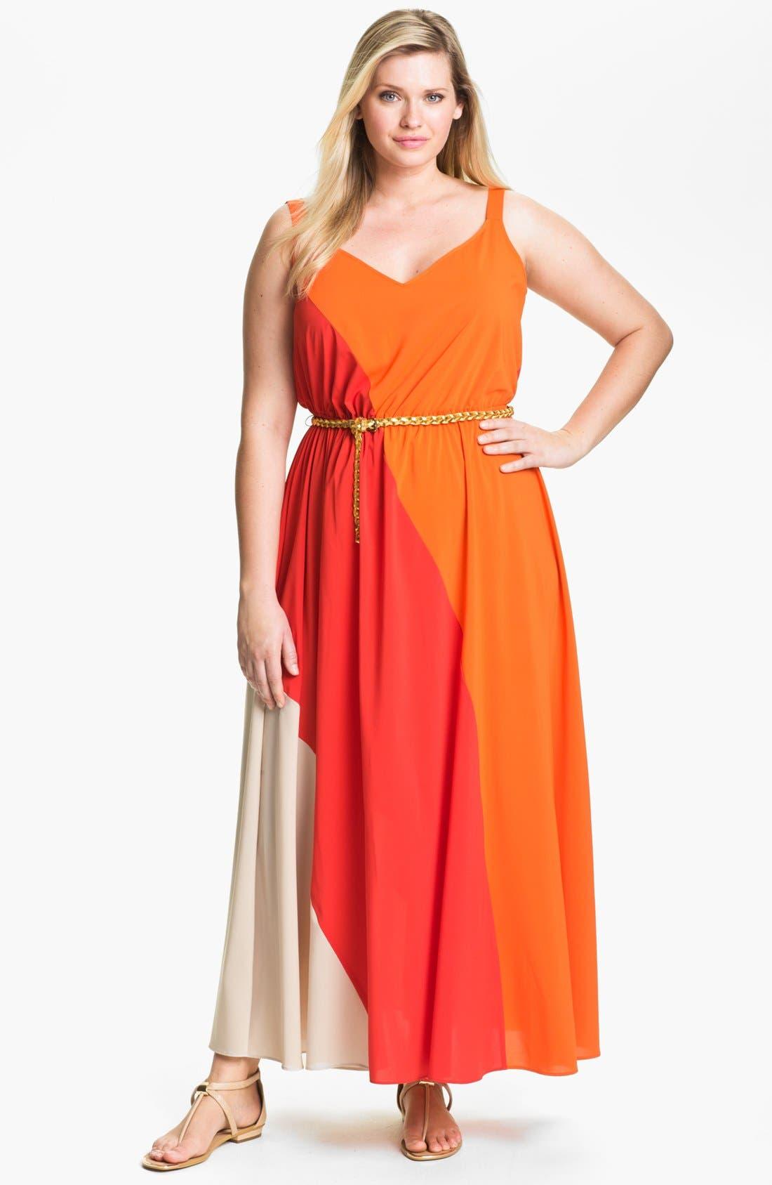 Main Image - Calvin Klein Colorblock Chiffon Maxi Dress (Plus Size)