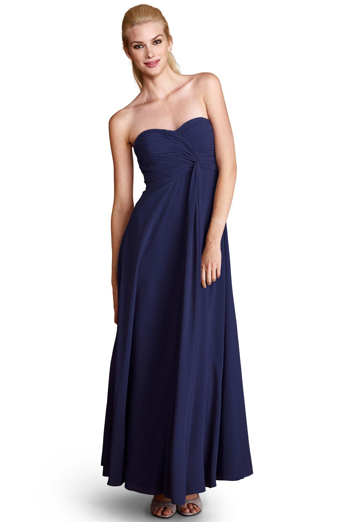 Alternate Image 1 Selected - Donna Morgan 'Lisa' Strapless Front Draped Gown (Online Only)