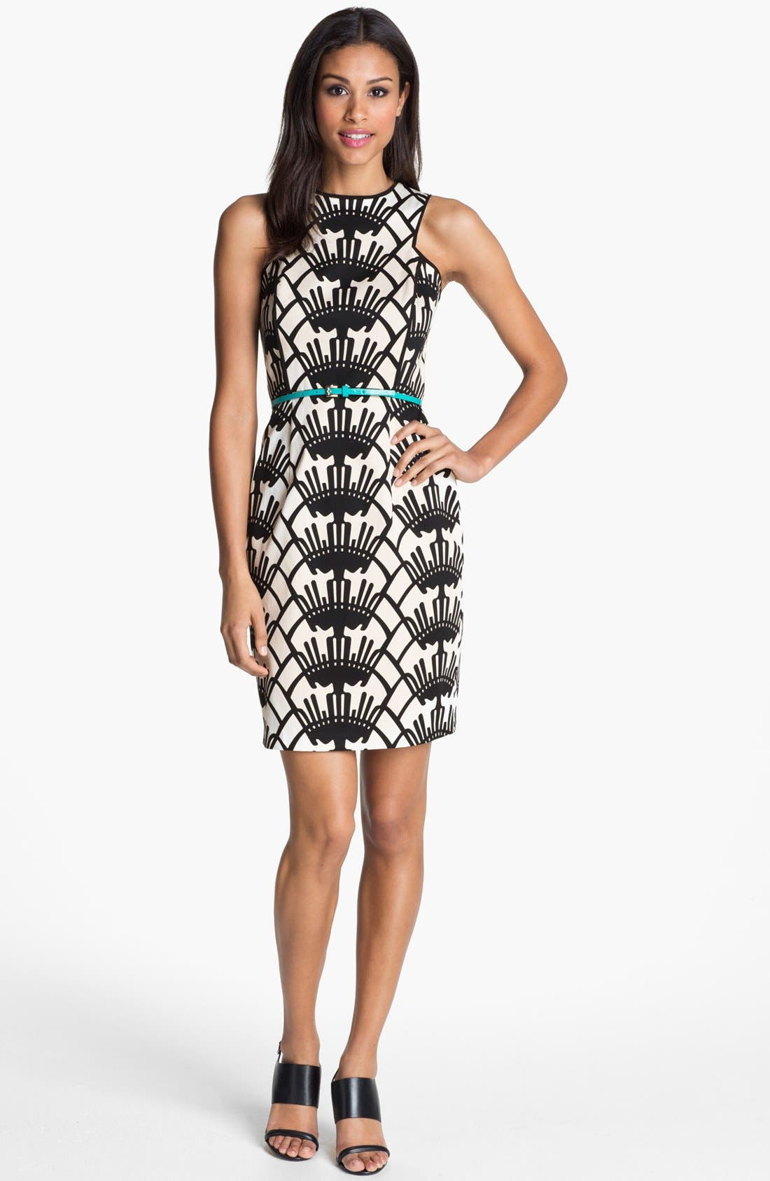 Alternate Image 1 Selected - Donna Morgan Belted Print Sheath Dress