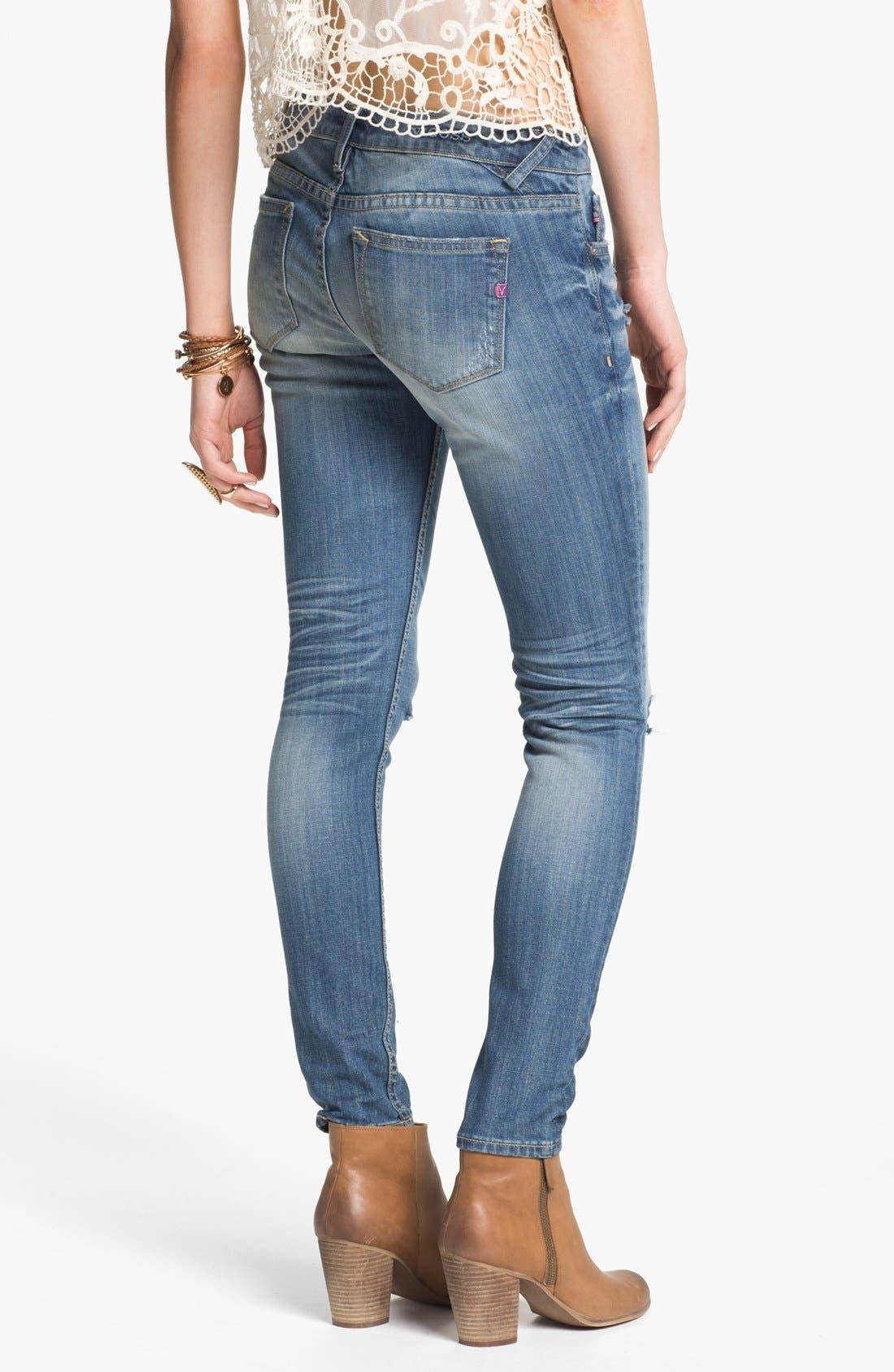 Alternate Image 2  - Vigoss Destroyed Skinny Jeans (Juniors)