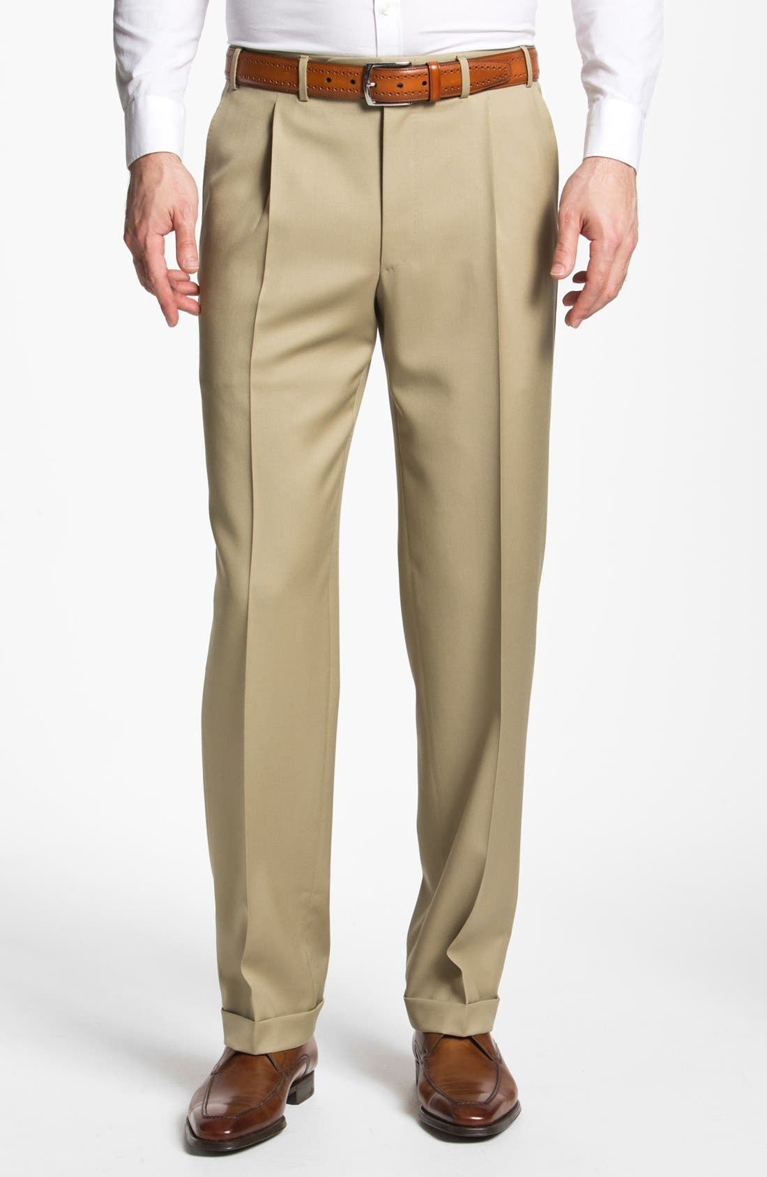 Pleated Trousers,                         Main,                         color, Taupe