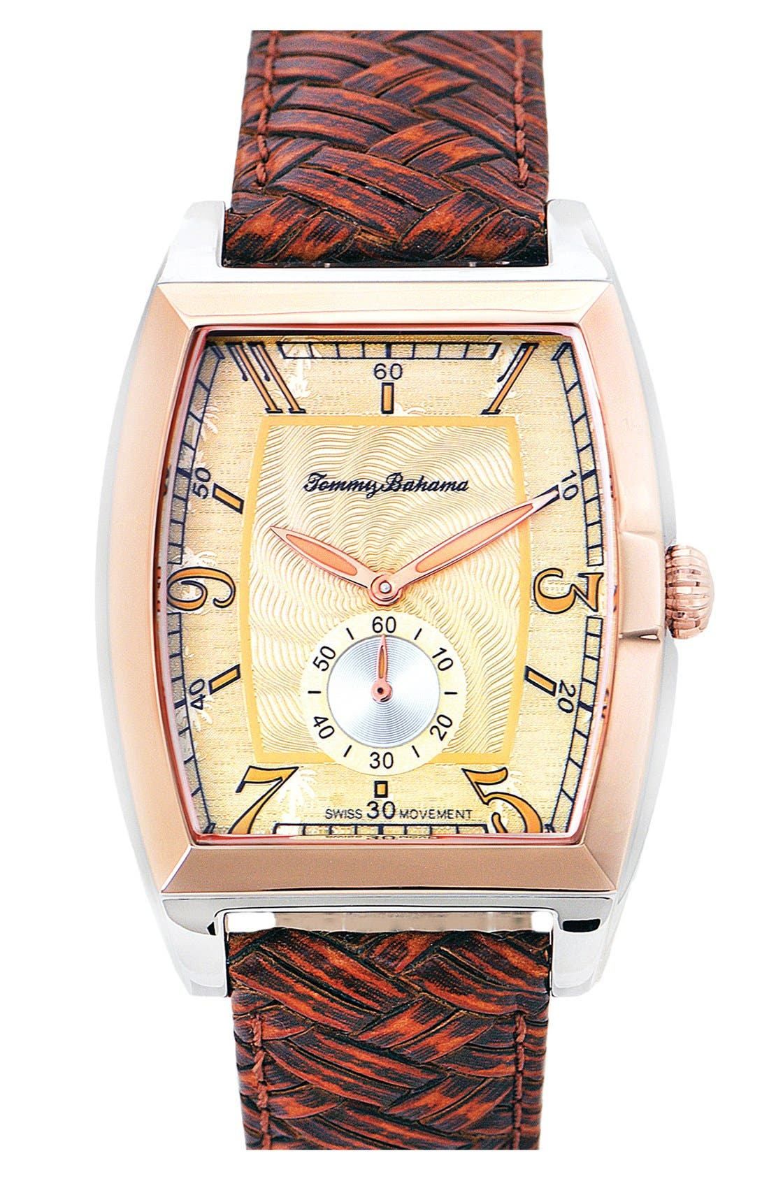 Alternate Image 1 Selected - Tommy Bahama 'Islander' Braided Leather Strap Watch, 42mm