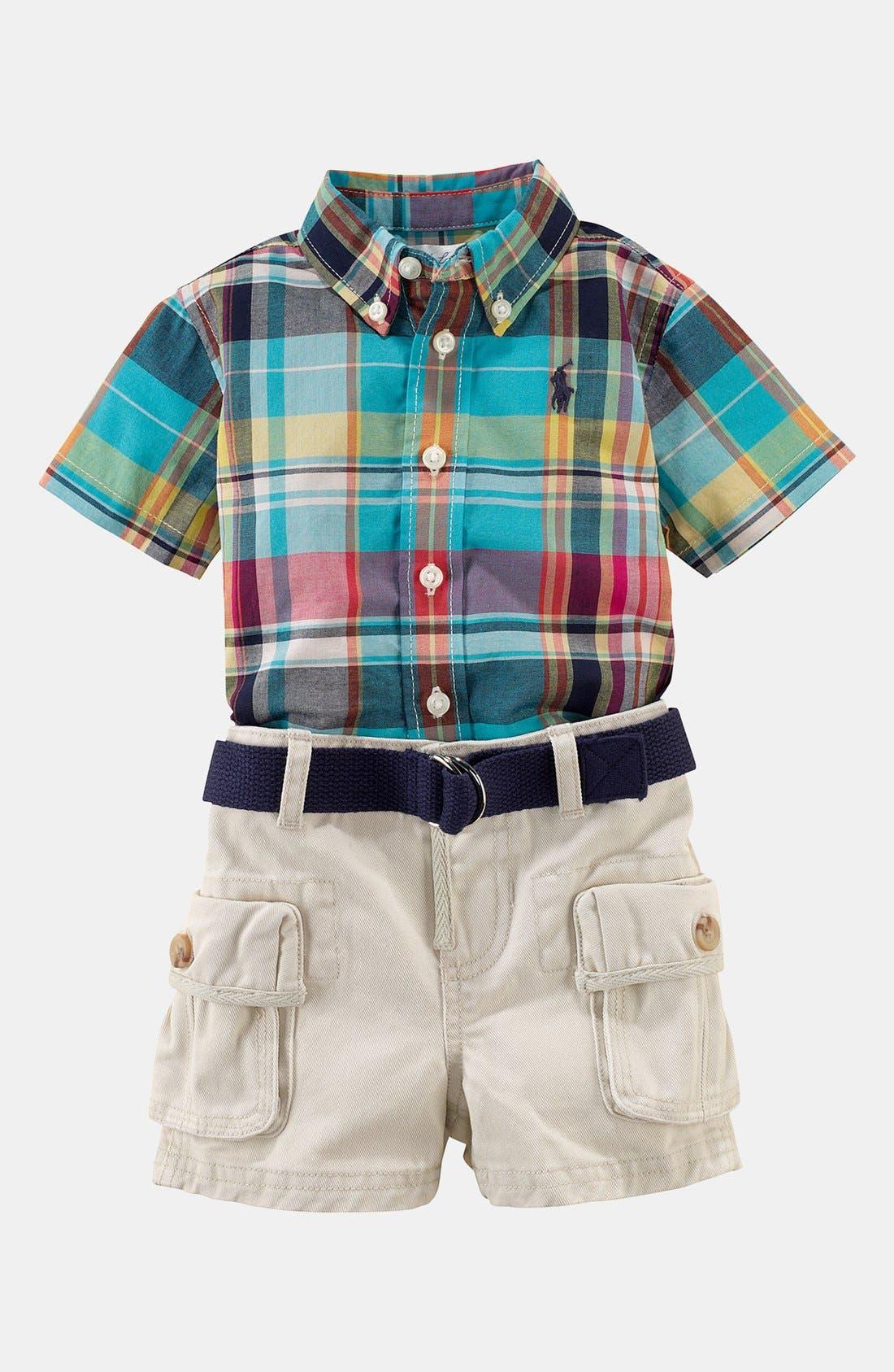 Main Image - Ralph Lauren Plaid Shirt & Shorts (Baby)